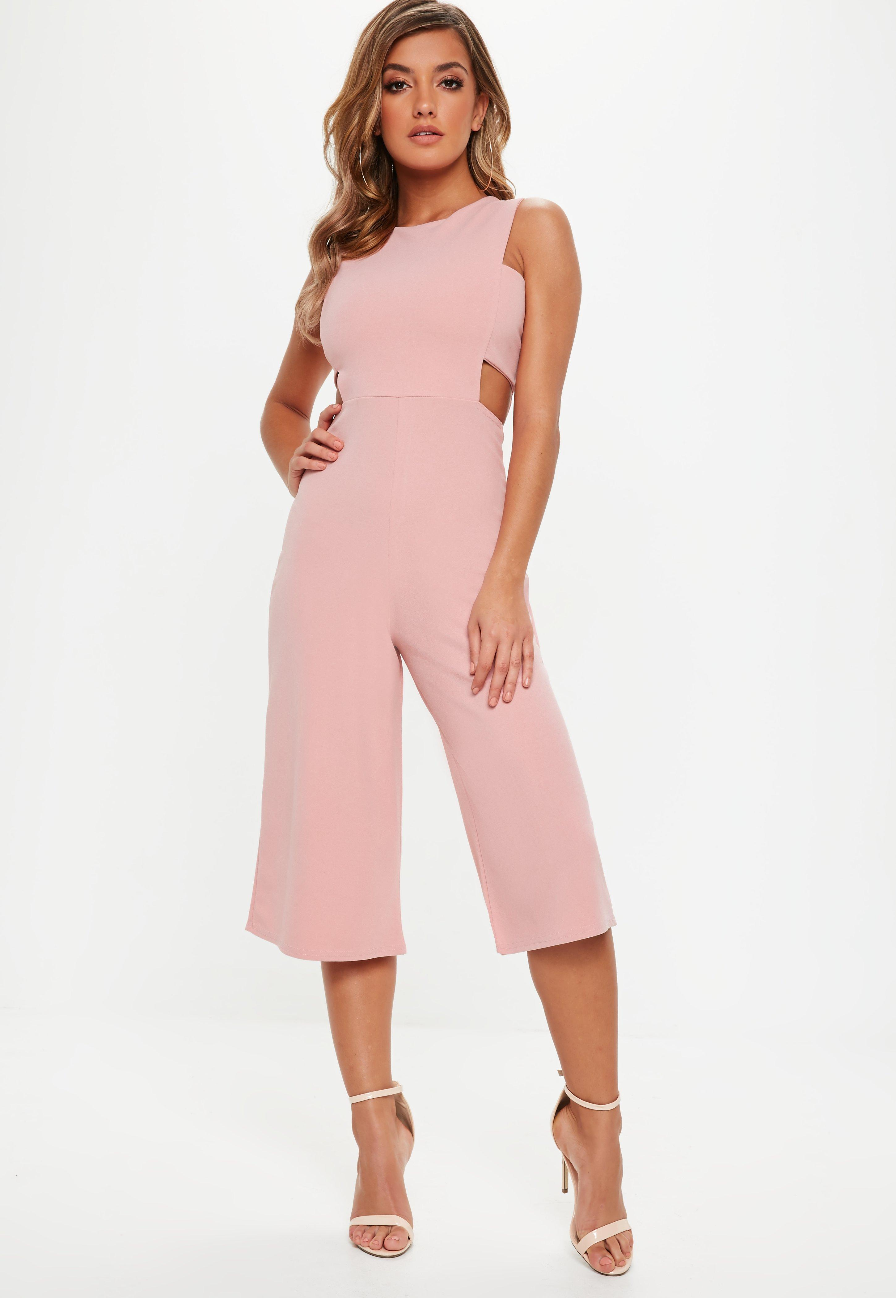 ebb1225b46 Missguided Pink Tab Side Culotte Jumpsuit in Pink - Lyst