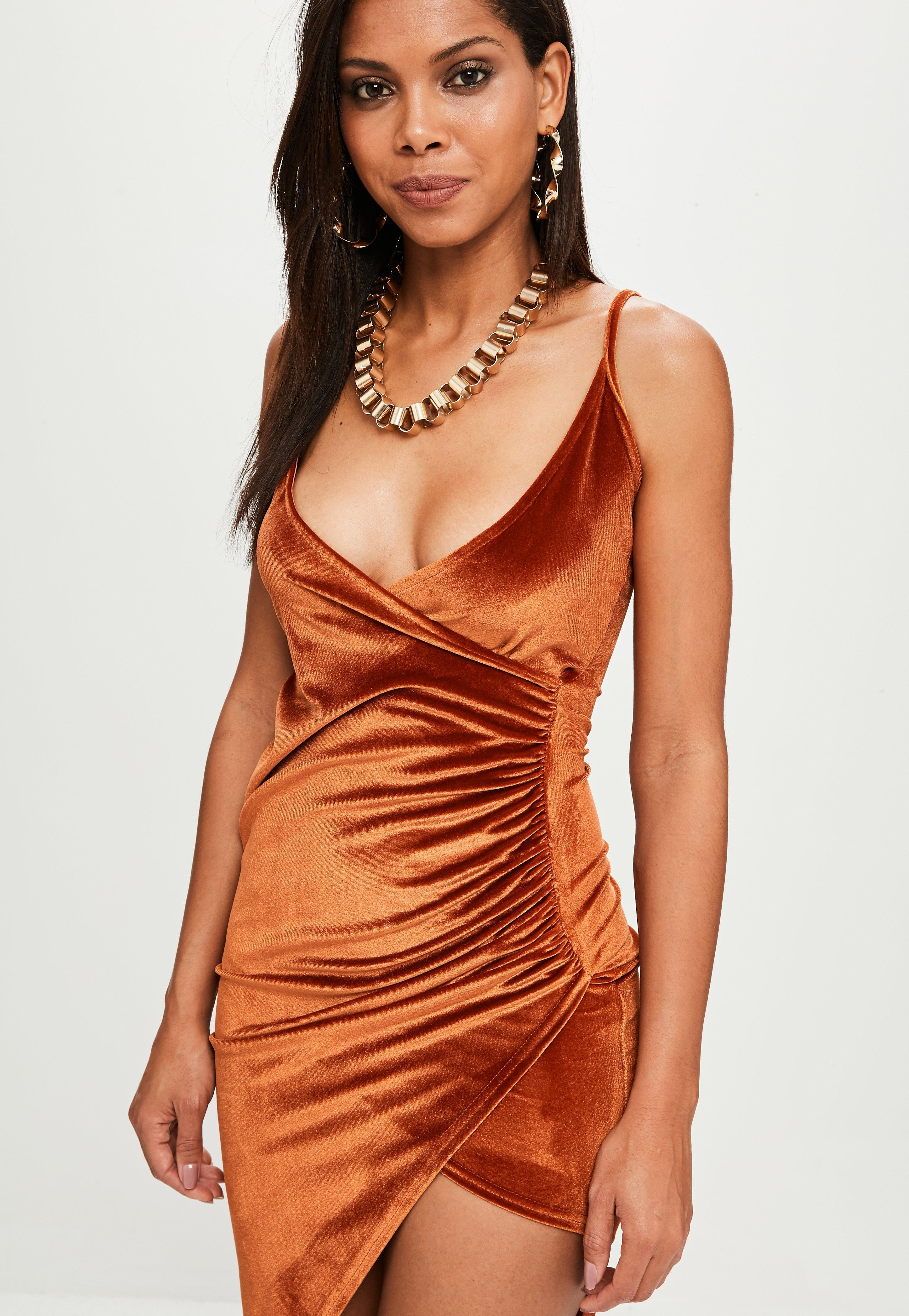 1f28e8fbdb58ef Missguided Rust Velvet Asym Wrap Front Maxi in Orange - Lyst