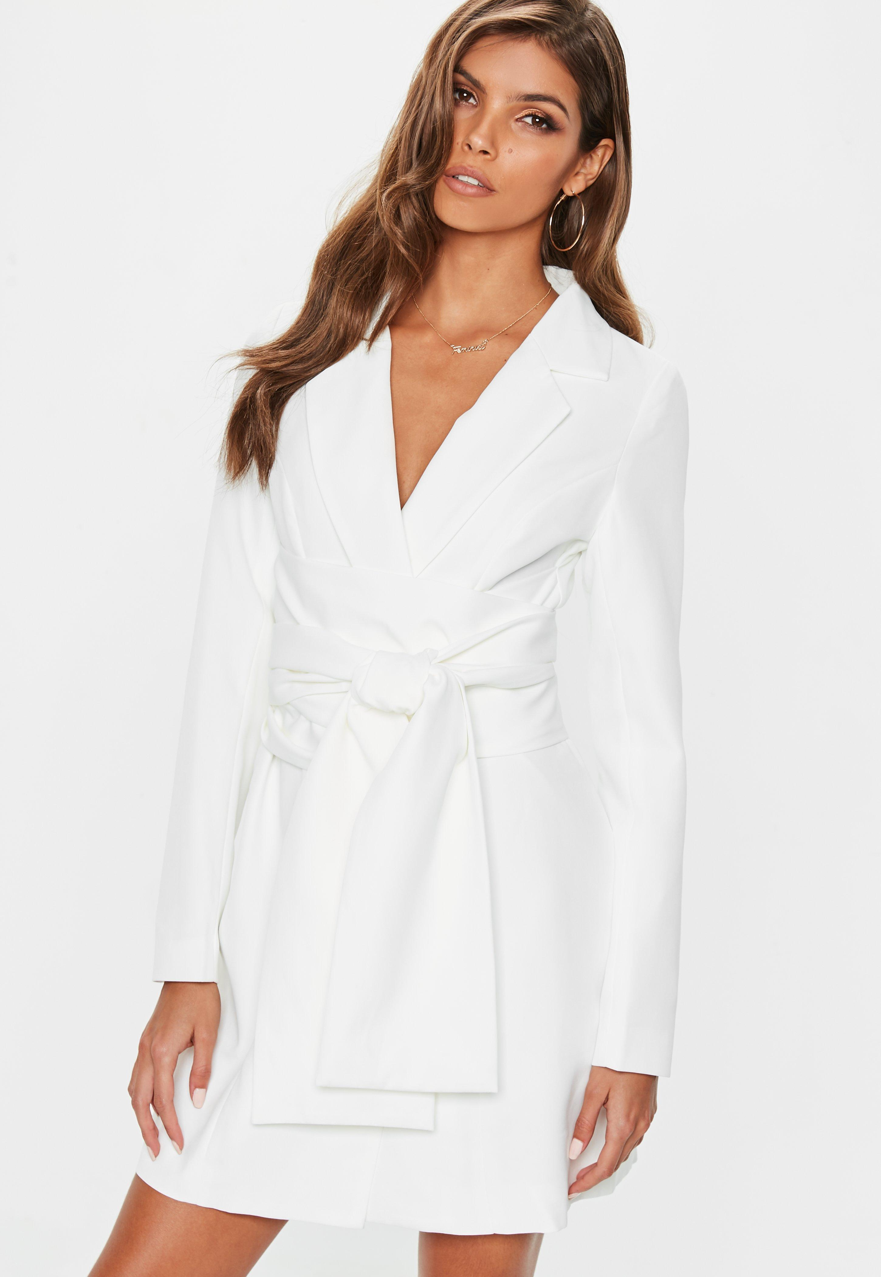 fbd42c2c0a26 Missguided Cream Extreme Wrap Belted Blazer Dress in White - Lyst