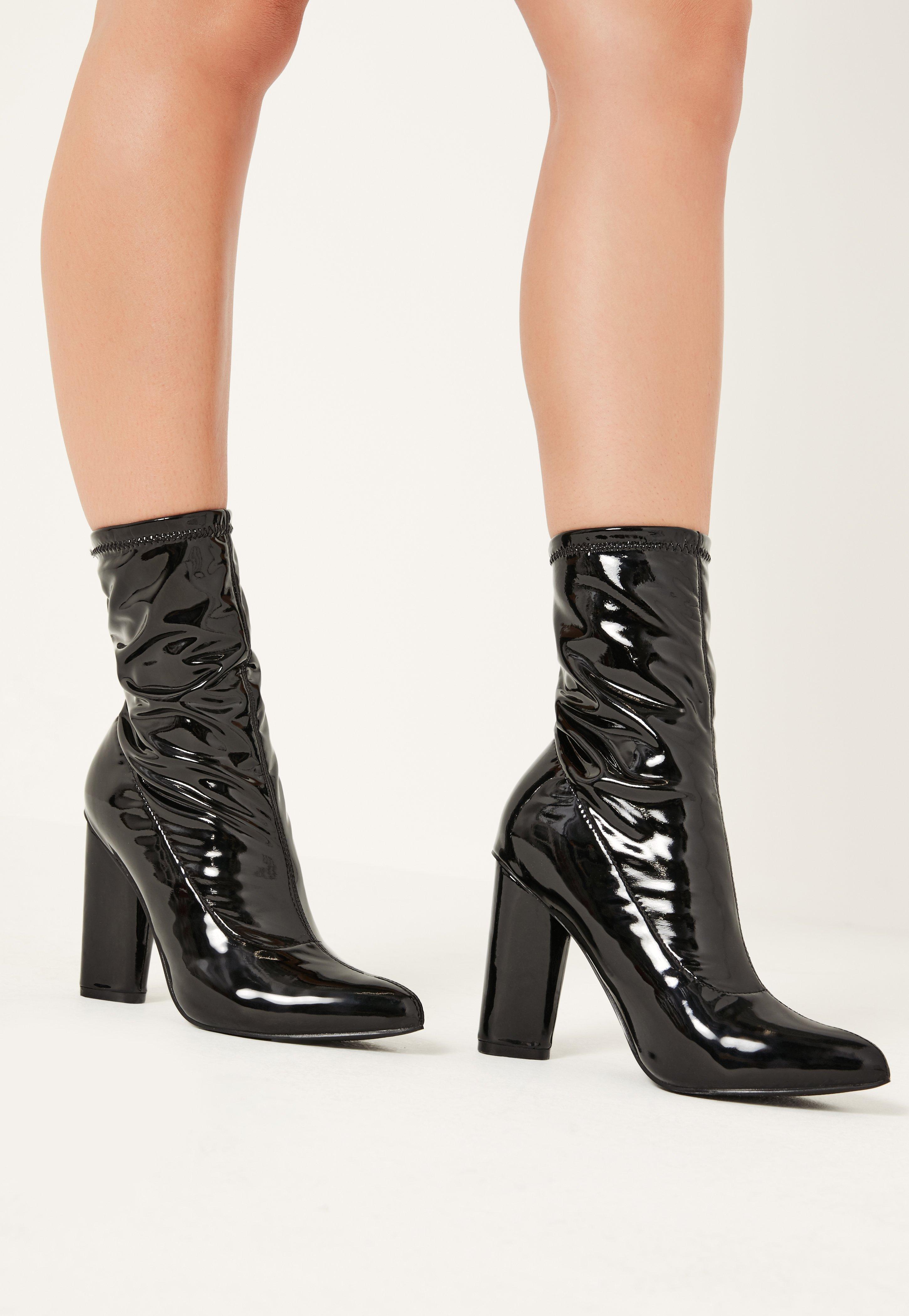 Missguided Black Patent Mid Calf Sock