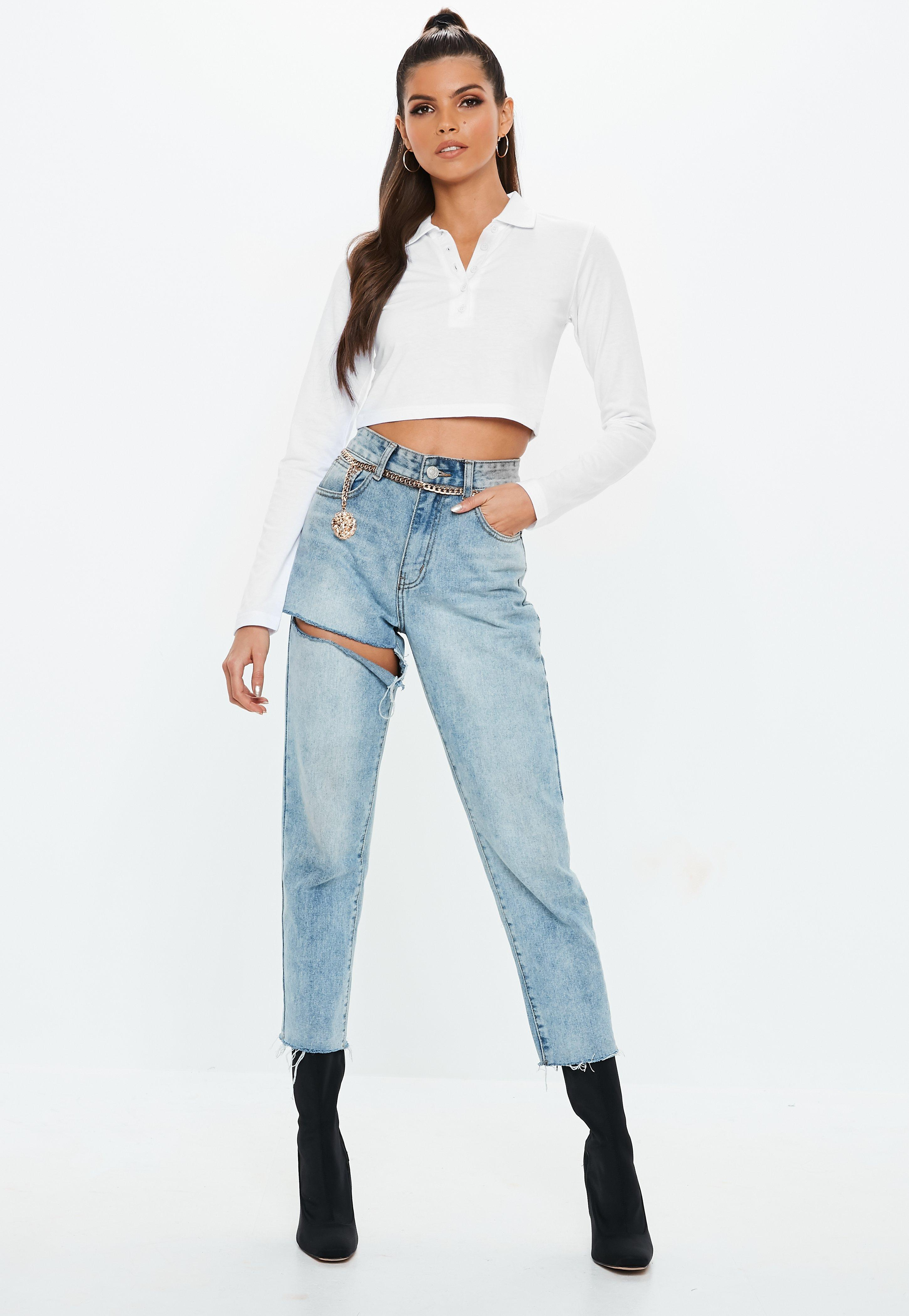 82cf82751c1a3 Missguided - White Button Front Polo Crop Top - Lyst. View fullscreen