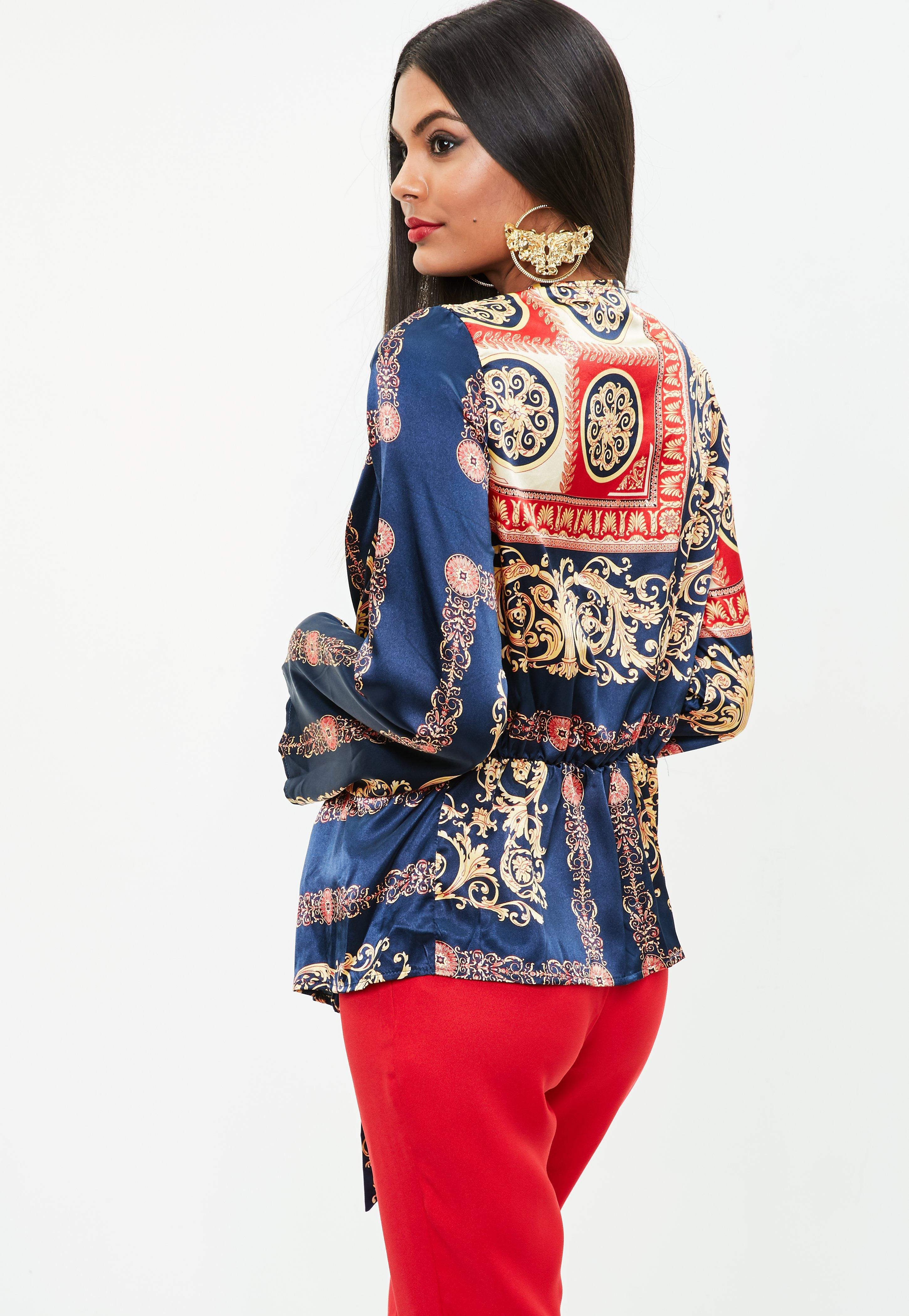 Missguided Navy Scarf Print Satin Blouse in Blue