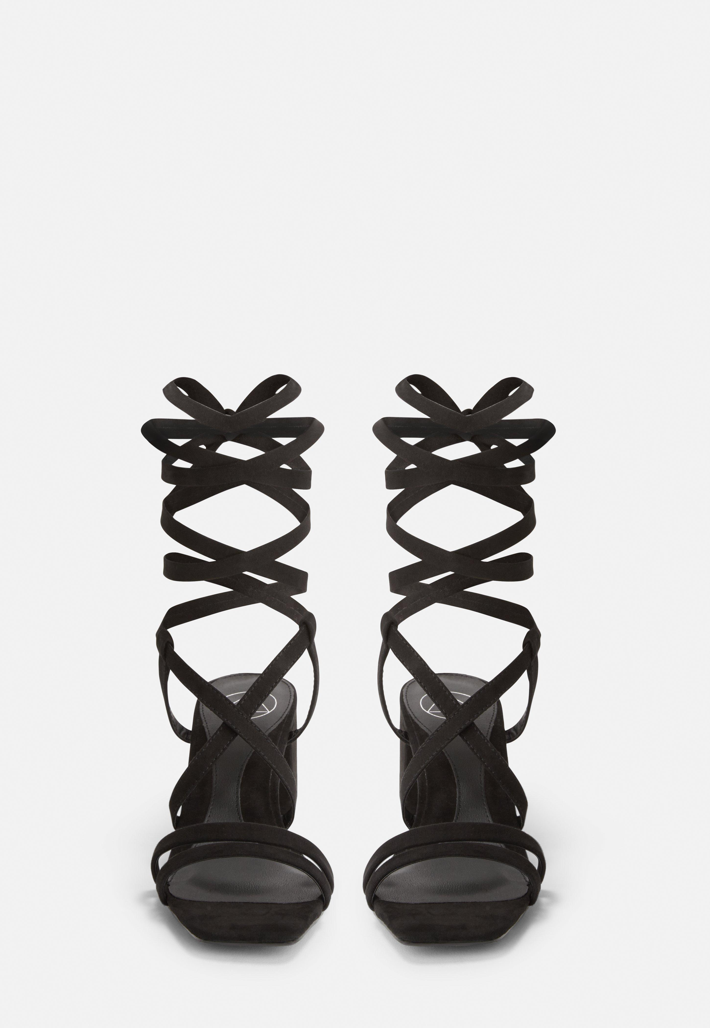 Missguided Suede Black Two Strap Lace