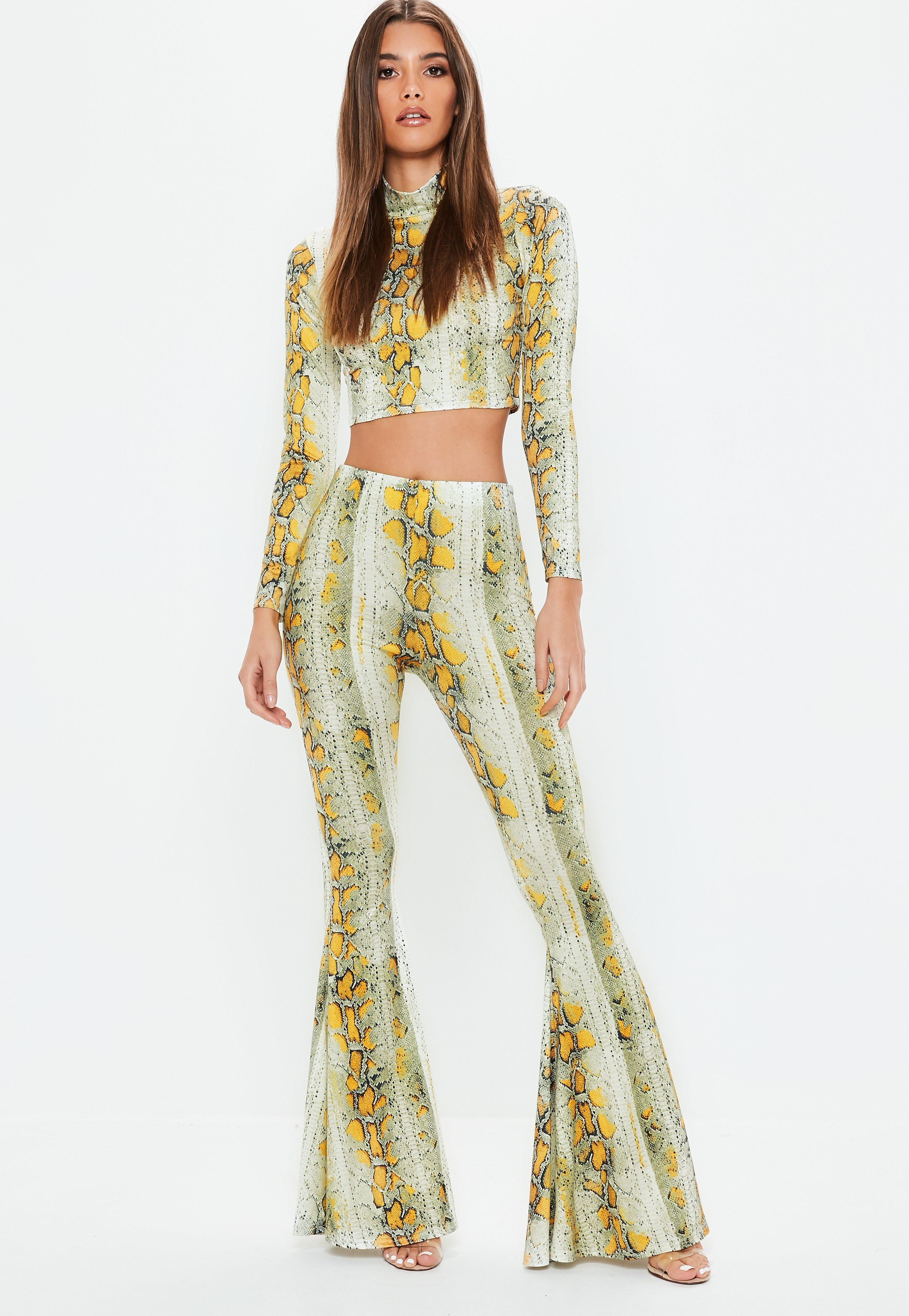 13d276dcee4 Missguided - Yellow Cream Snake Printed High Neck Crop Top - Lyst. View  fullscreen