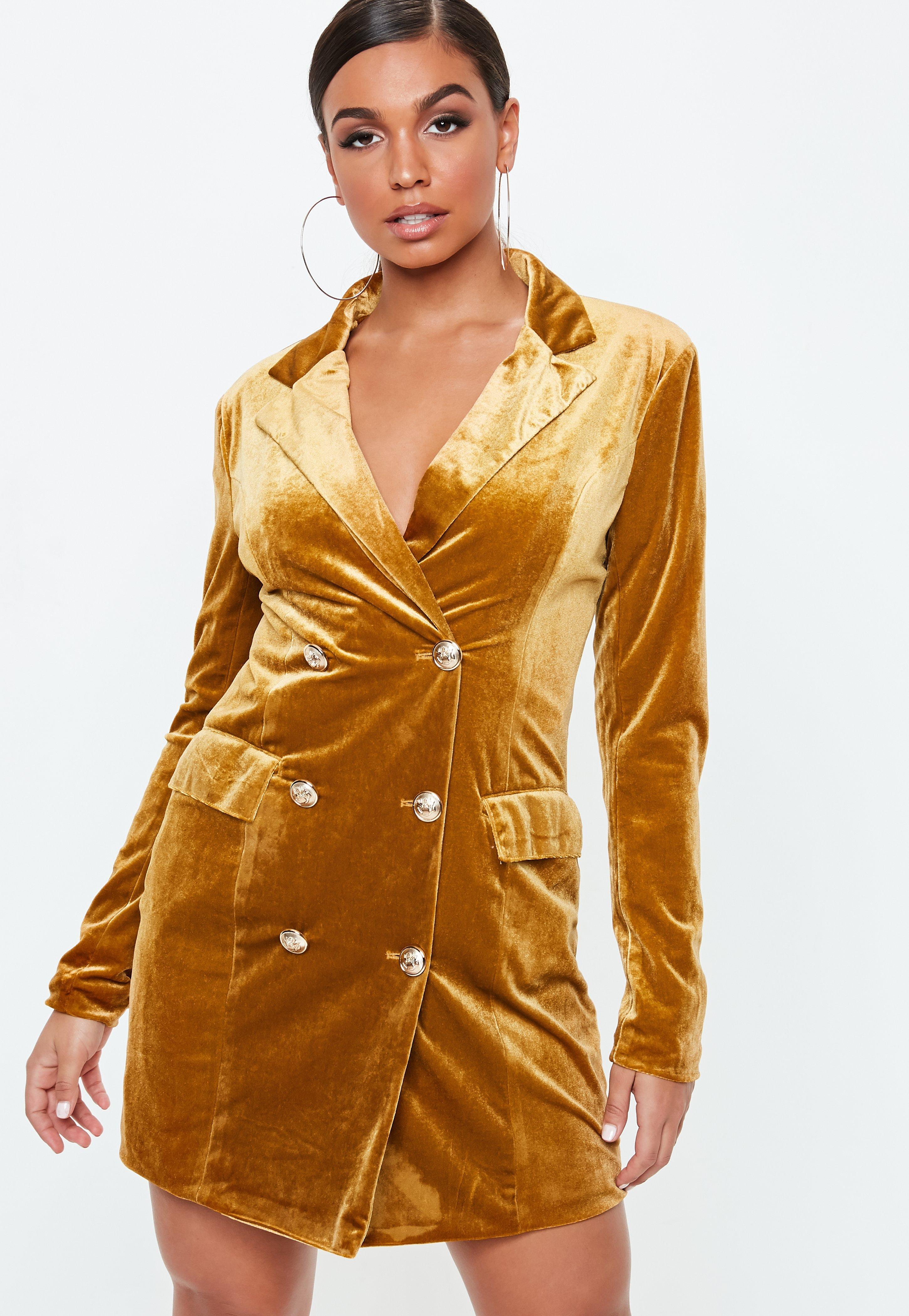 25e743780800 Lyst - Missguided Gold Velvet Double Breasted Blazer Dress in Metallic