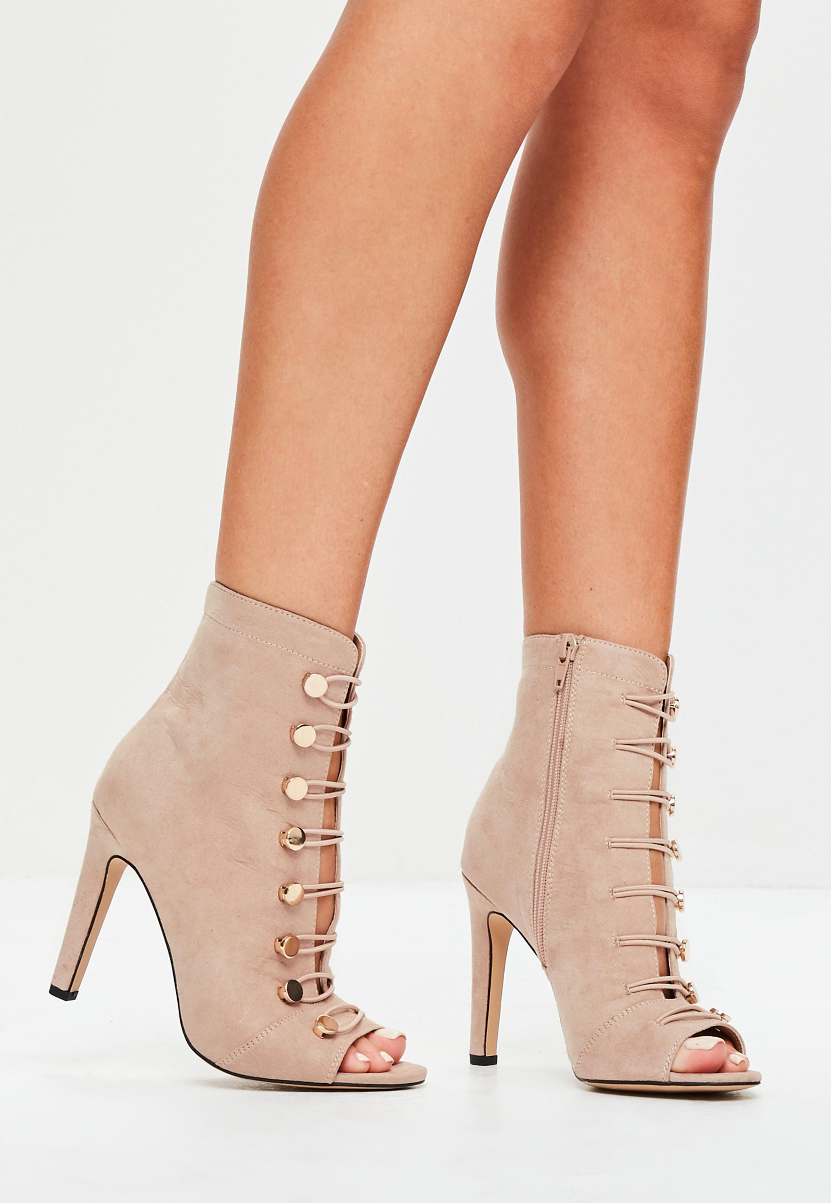 Missguided Nude Faux Suede Lace Up
