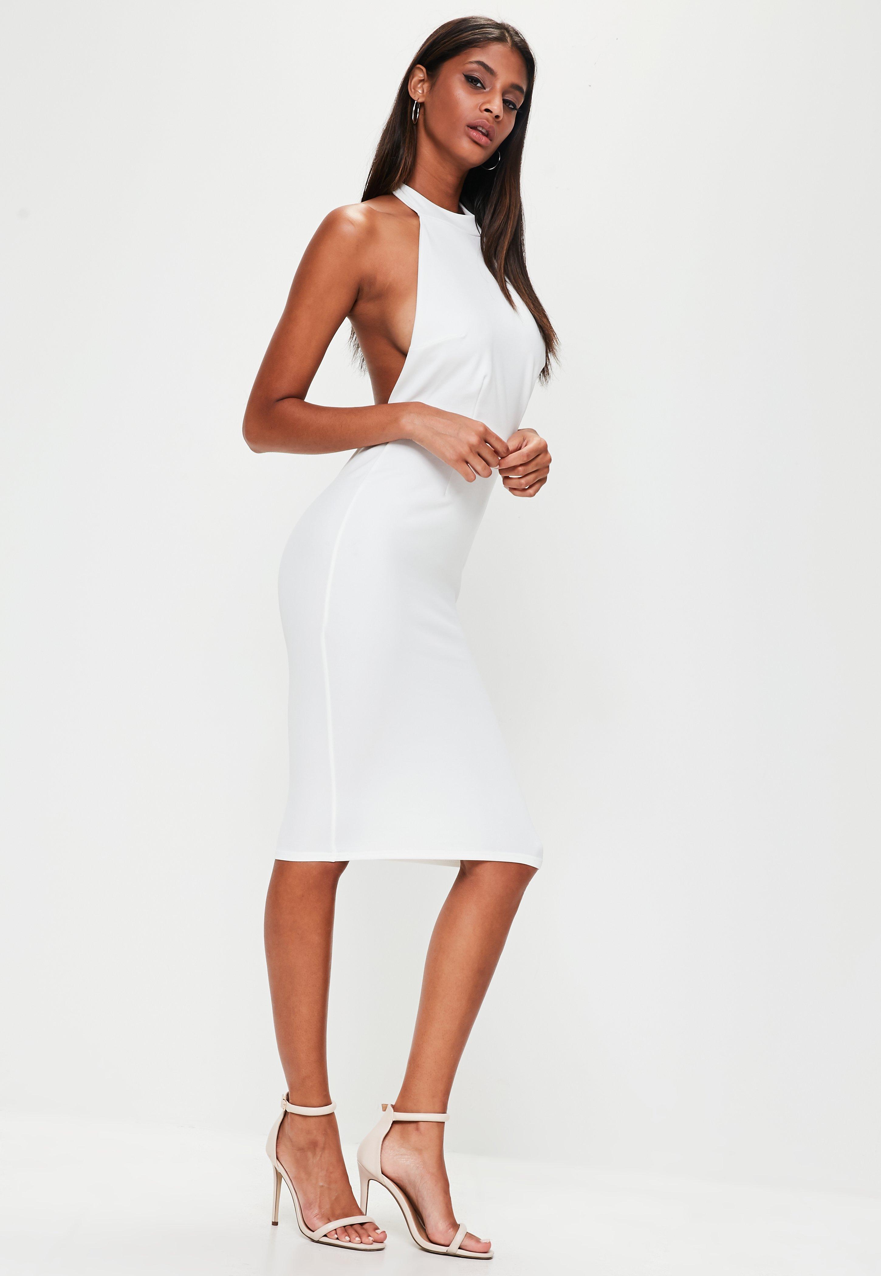 White halter neck cutaway midi bodycon dress