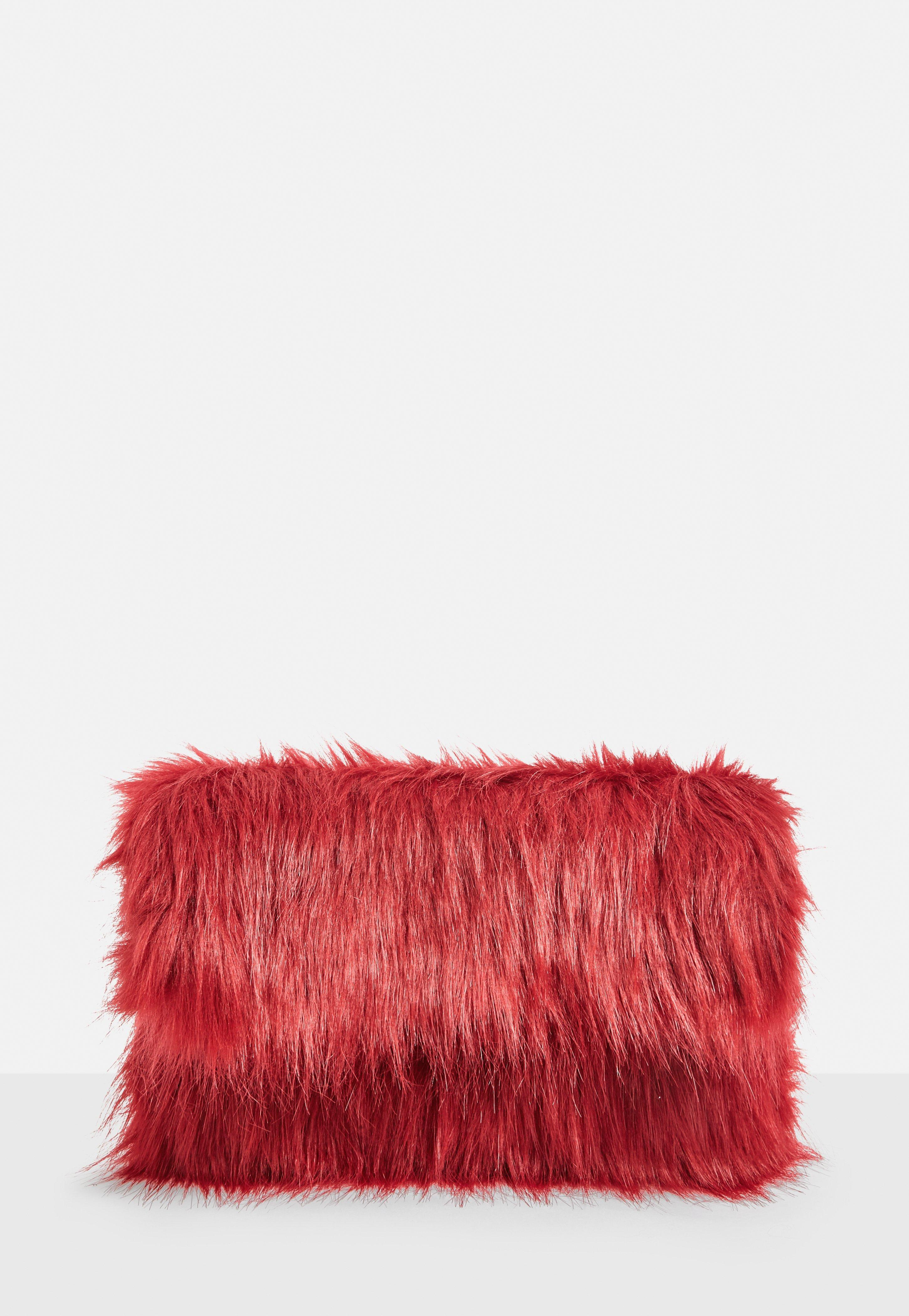 Lyst - Missguided Red Faux Fur Oversized Clutch Bag in Red 2449fd56a04a6