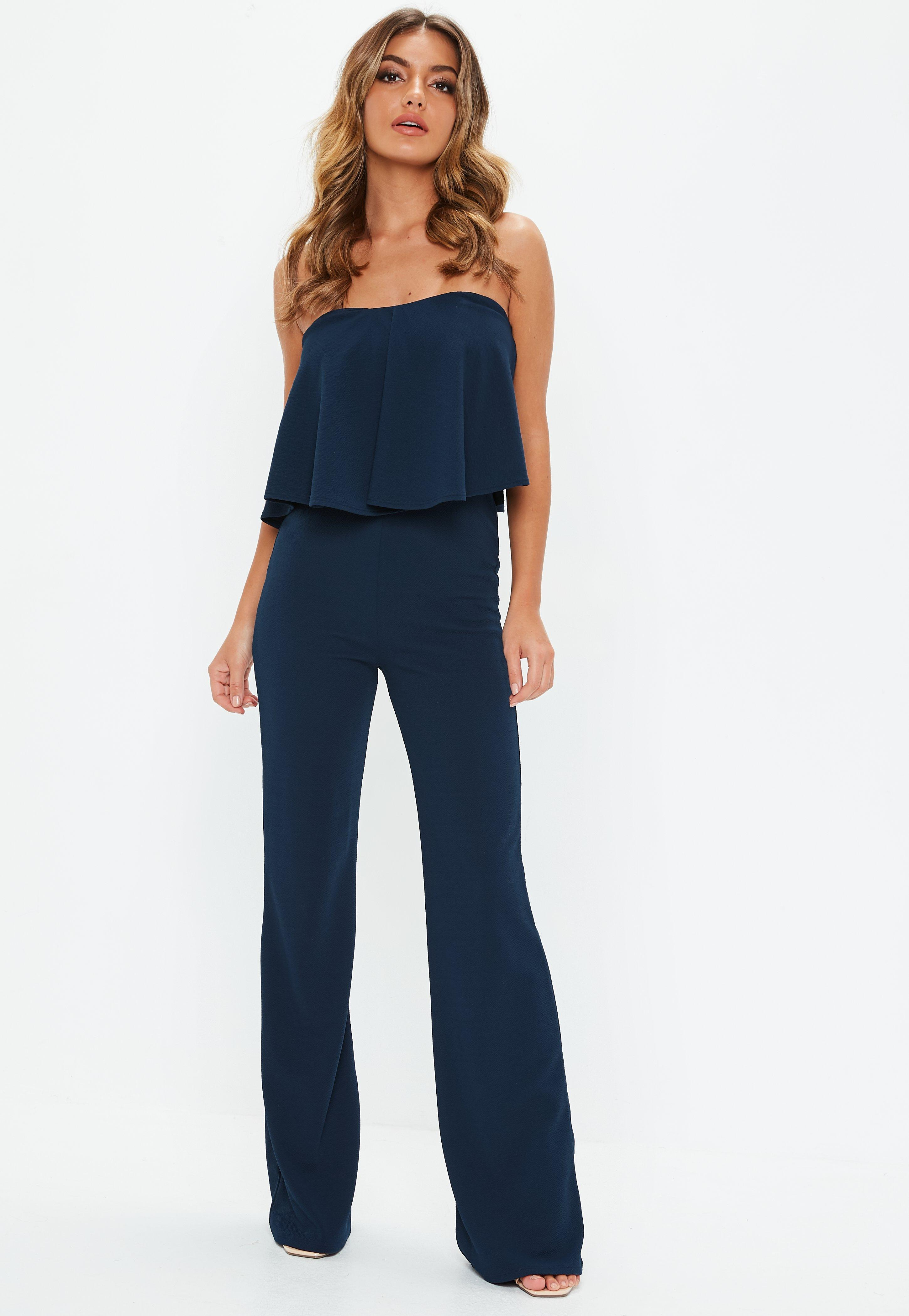 0011f977583 Lyst - Missguided Tall Navy Bandeau Frill Wide Leg Jumpsuit in Blue