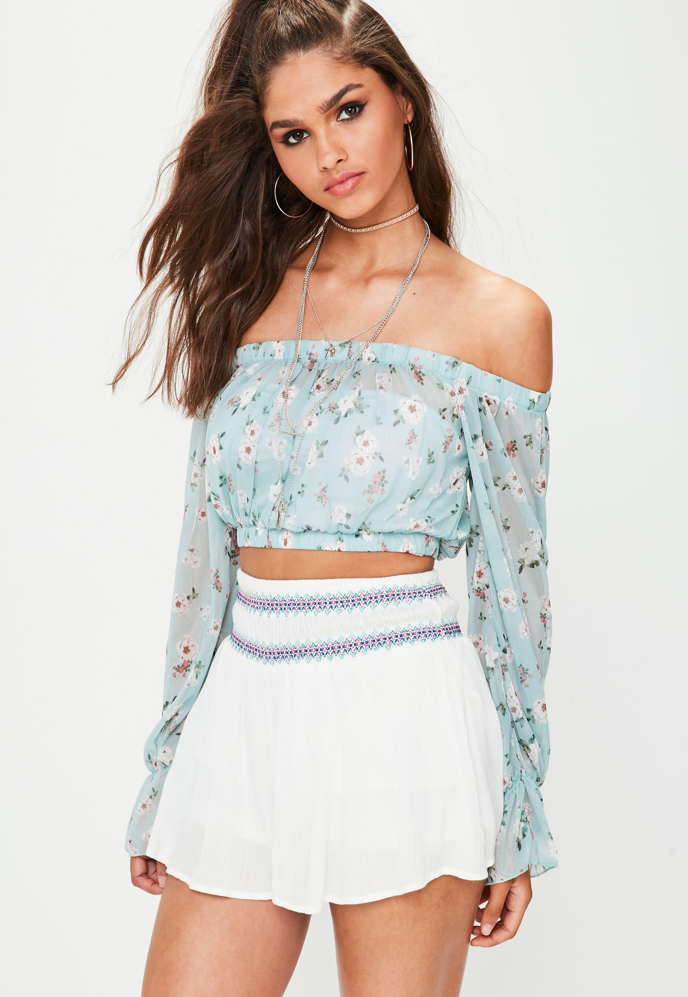 4c464c2bab9a2 Lyst - Missguided Blue Floral Mesh Bardot Crop Top in Blue