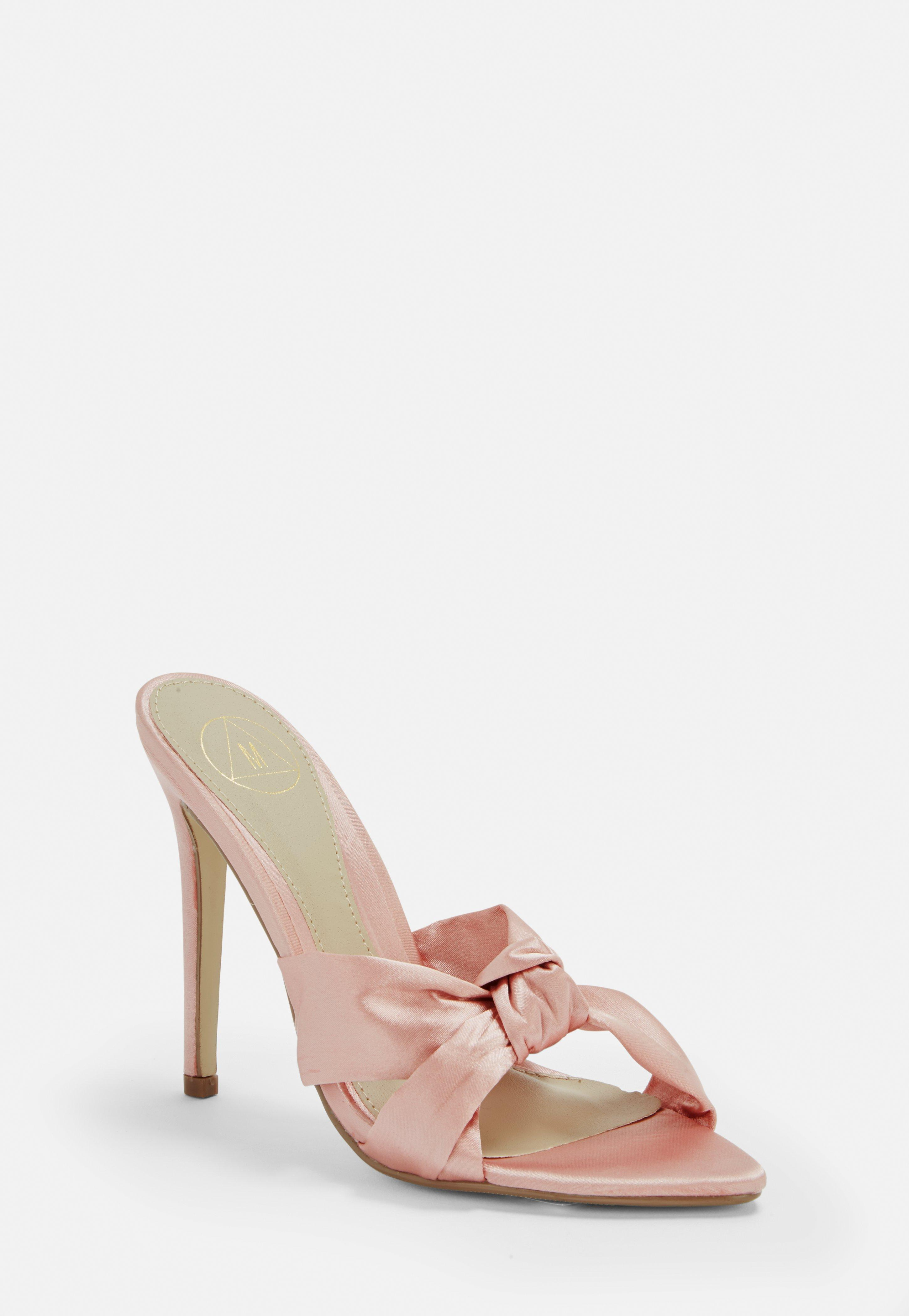 d71aca573dc Lyst - Missguided Pink Pointed Satin Bow Mules in Pink