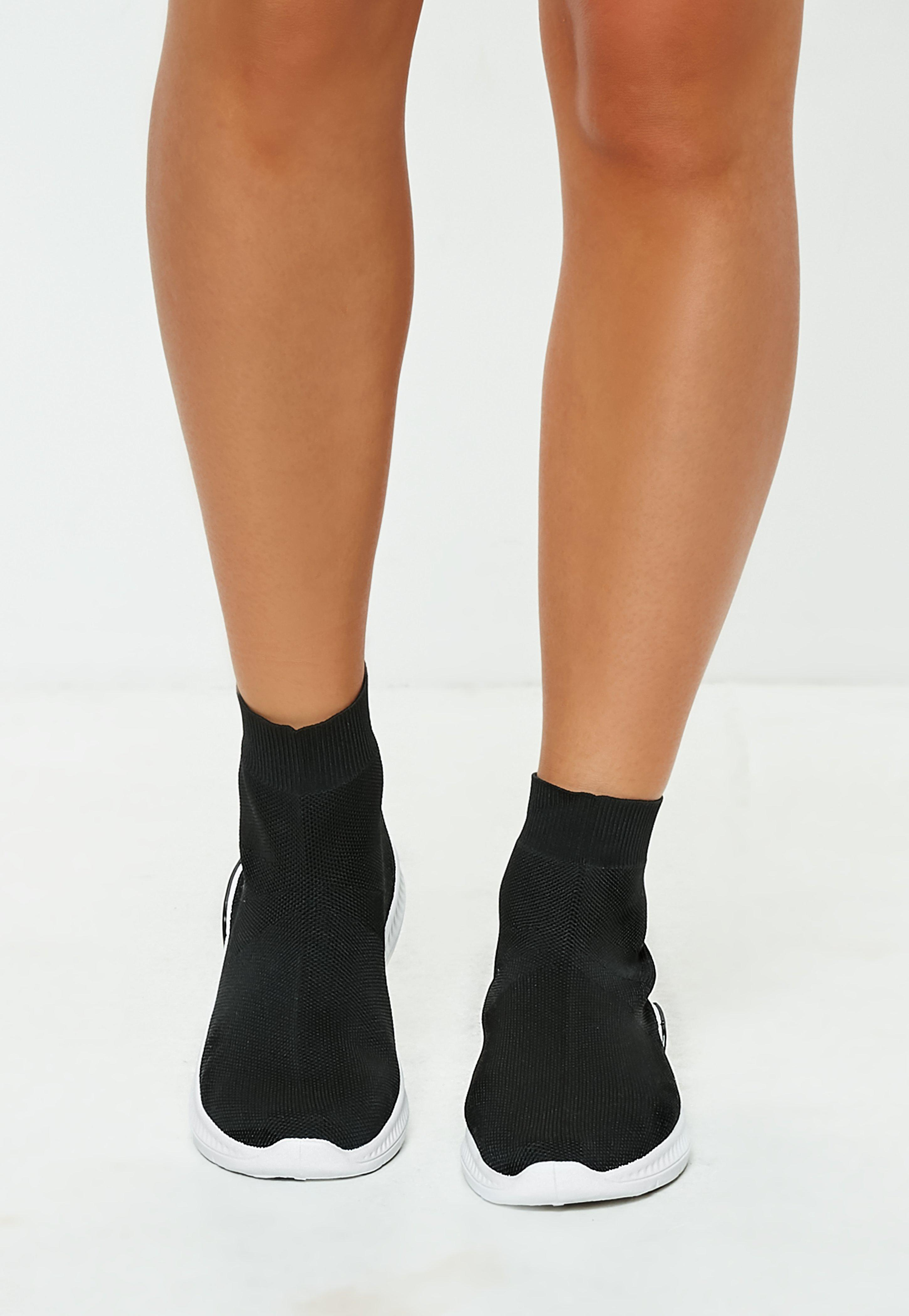 Missguided Black Sock Trainers - Lyst