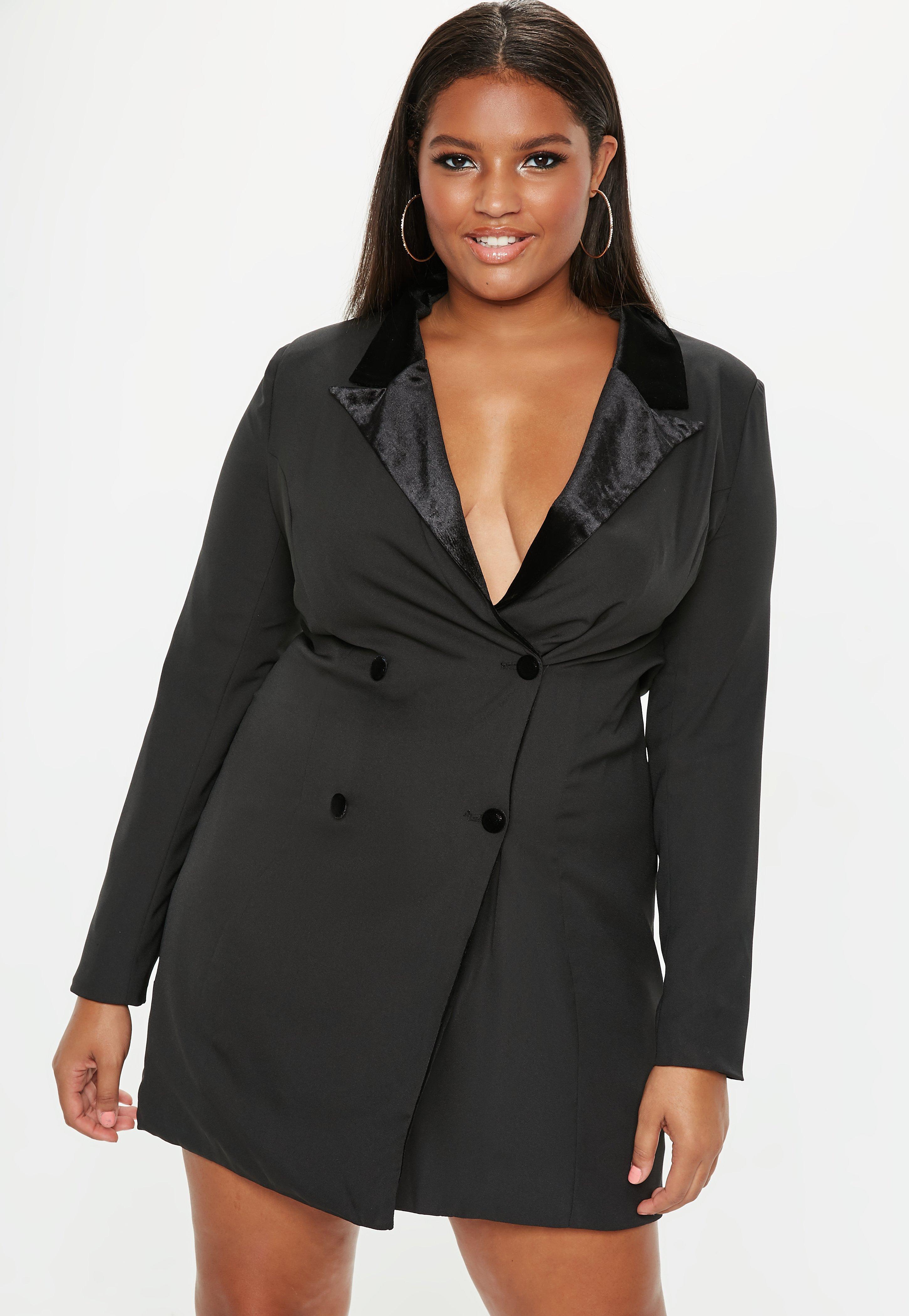Plus Size Black Velvet Tux Dress