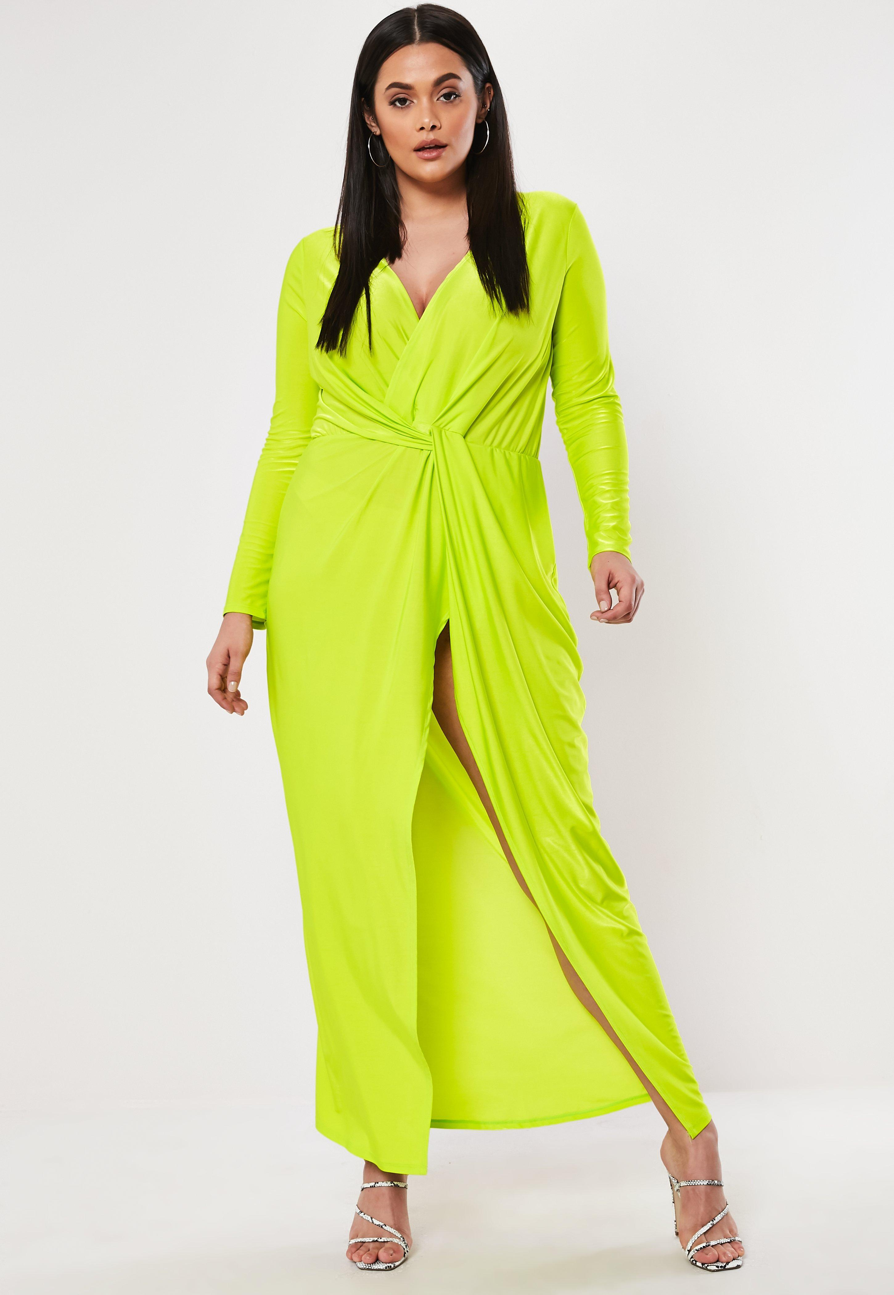 Lyst - Missguided Plus Size Lime Thigh Split Maxi Dress in ...