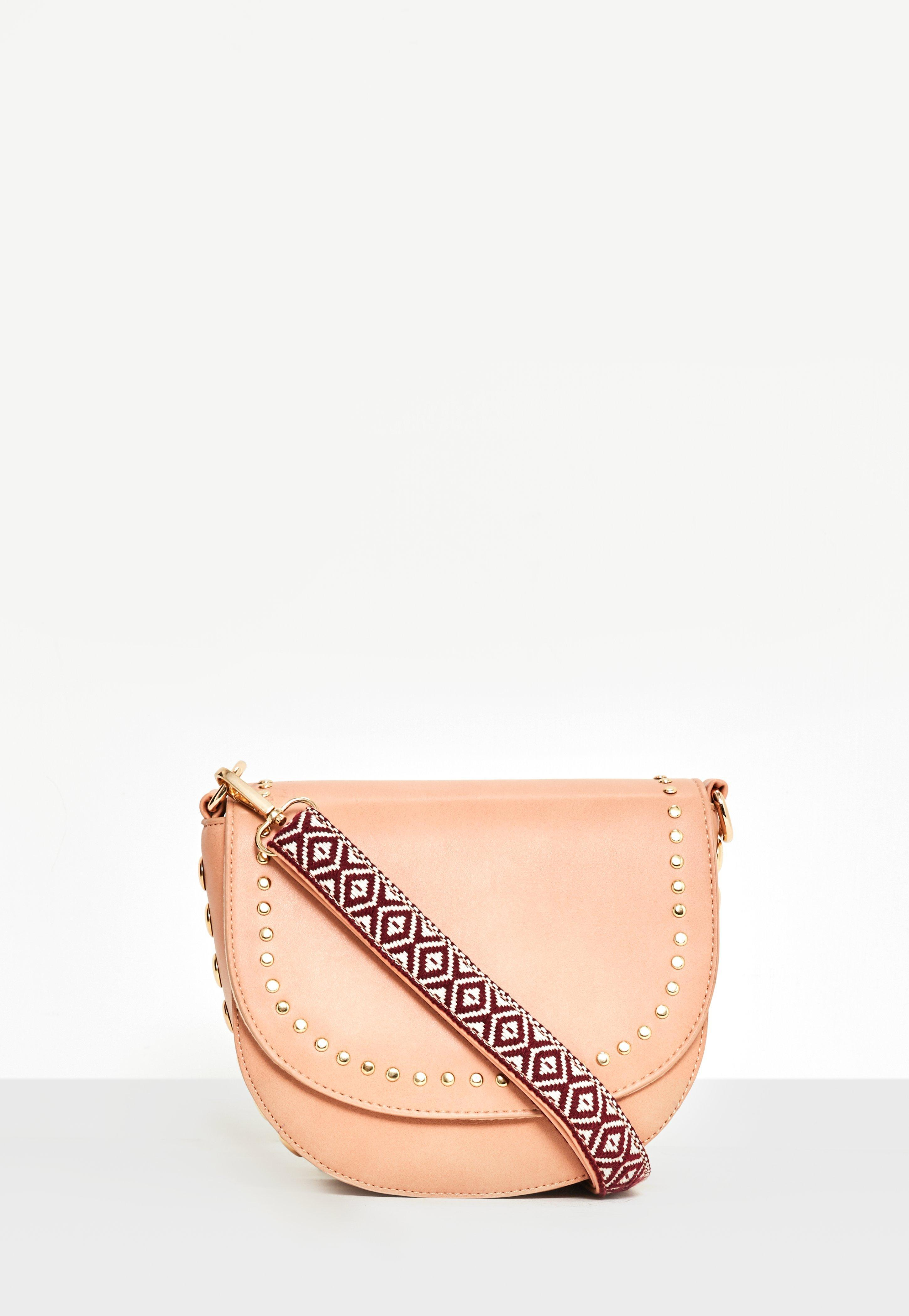f1fc9d9f22 Lyst - Missguided Nude Studded Guitar Strap Cross Body Bag in Natural