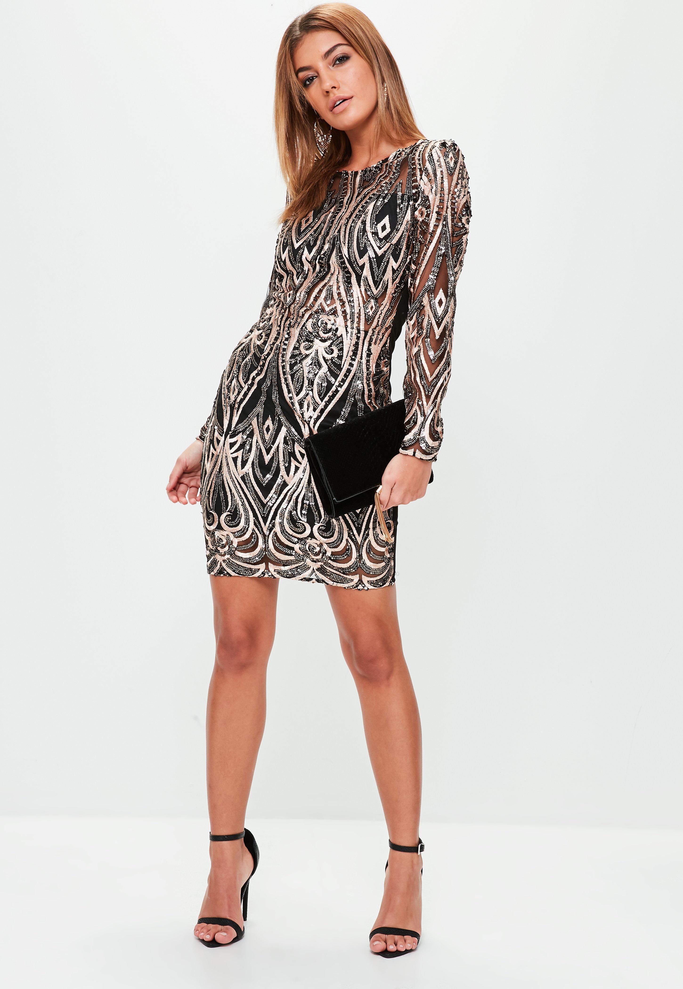 Black glitter stripe long sleeve bodycon dress