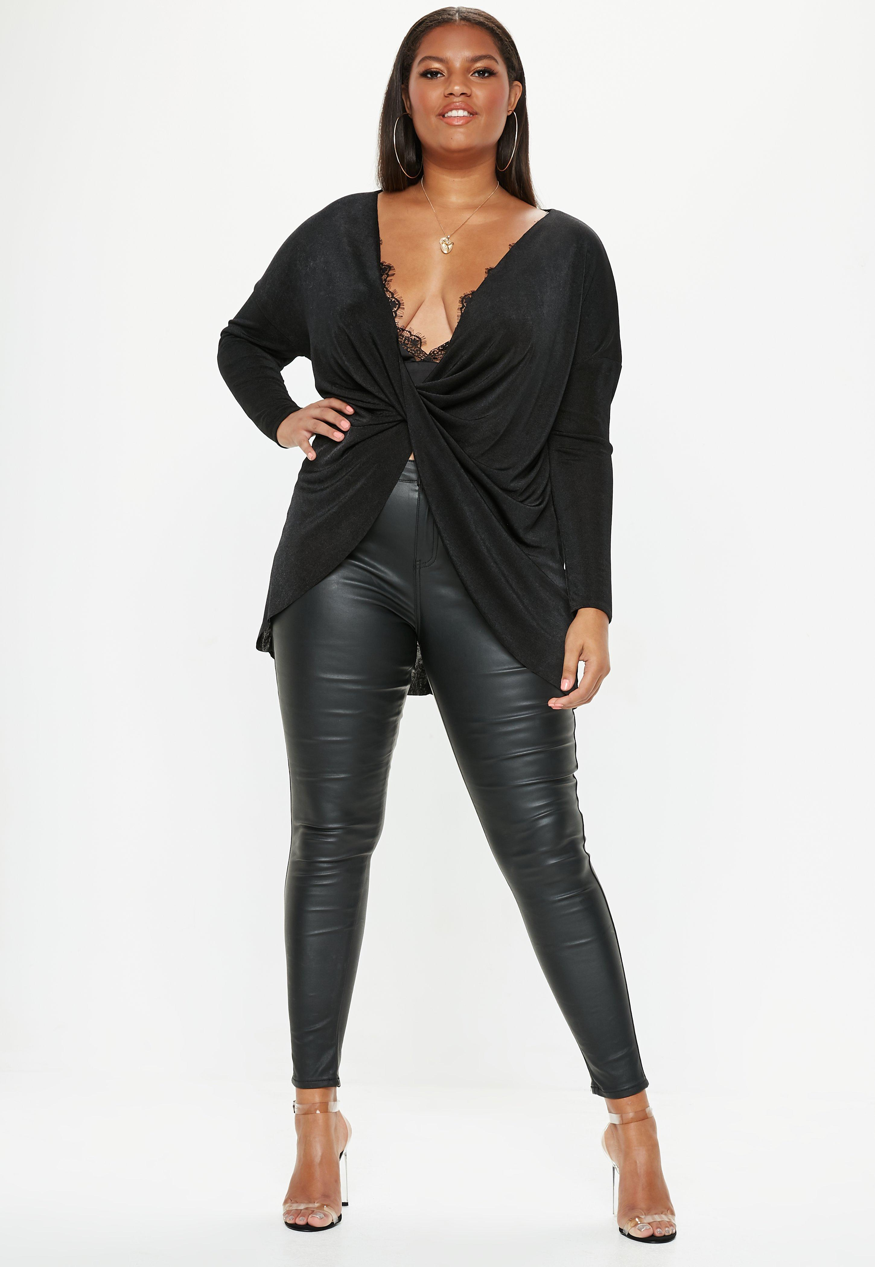 6130a684d05 Missguided - Plus Size Black Drape Front Long Sleeve Slinky Top - Lyst.  View fullscreen