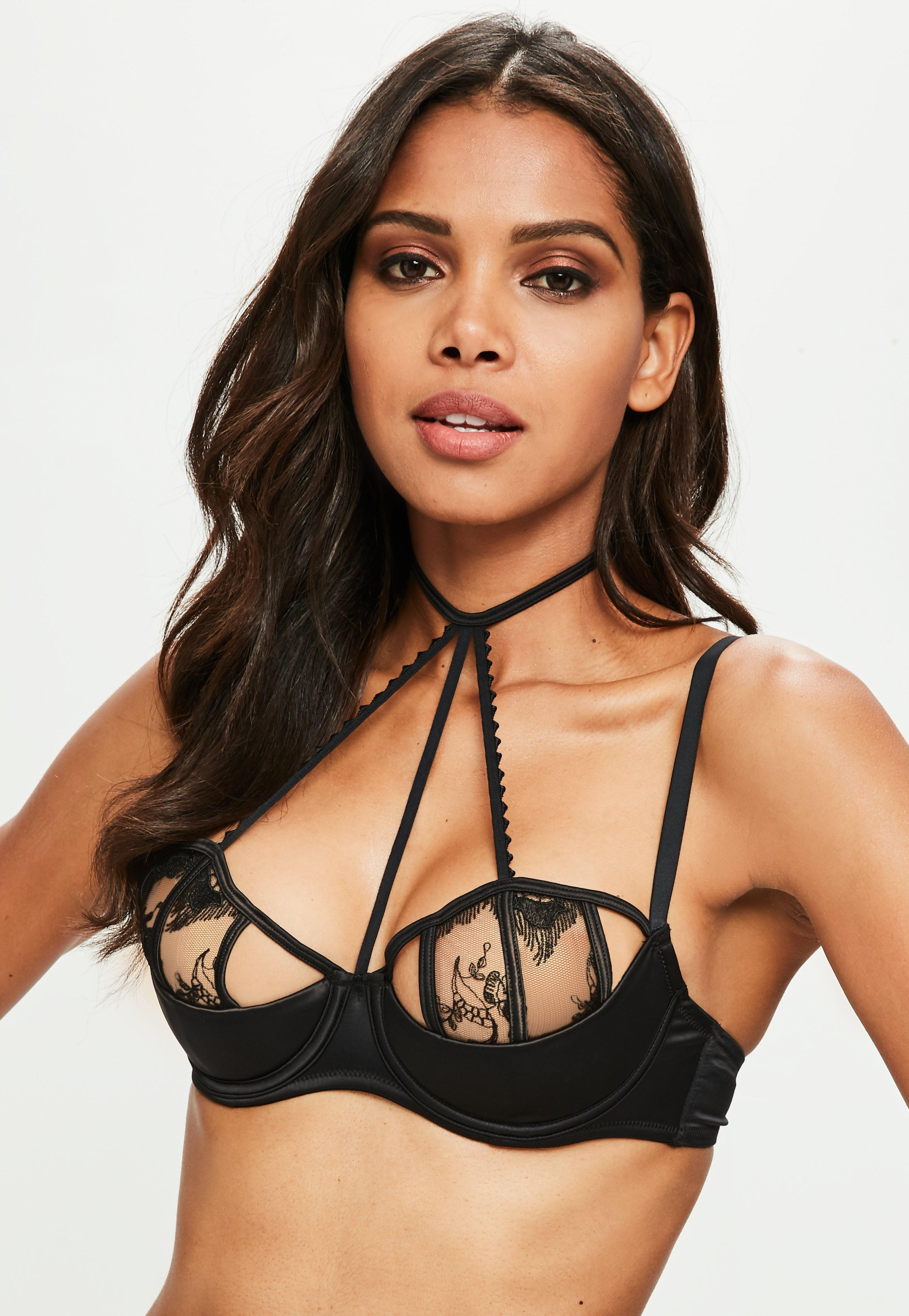 94cb3e1608 Lyst - Missguided Black Embroidered Lace Caged Underwired Bra in Black