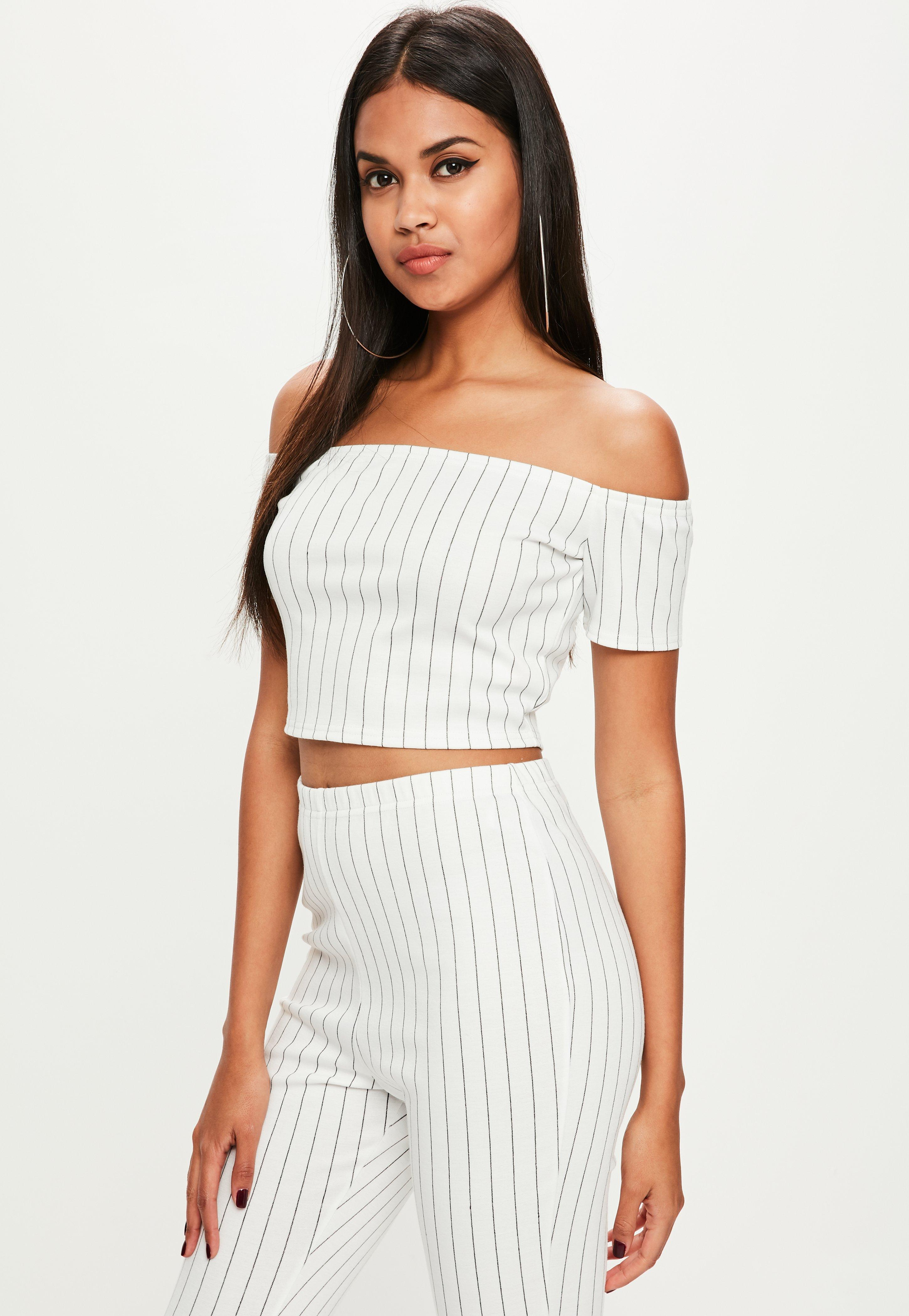 05ba84d760de5 Missguided Tall White Stripe Crop Top in White - Lyst