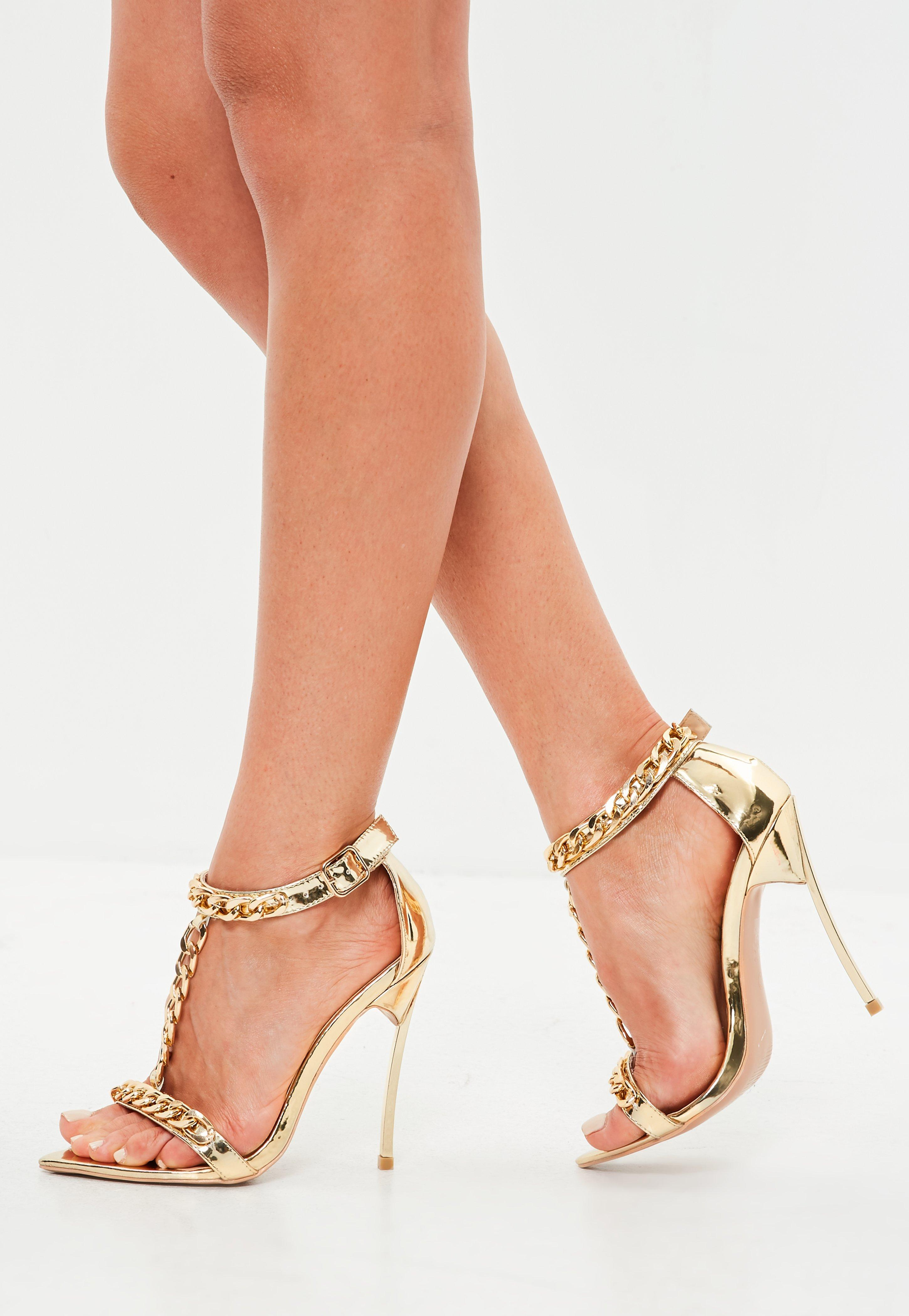 90516e611cdd6 Missguided Peace + Love Gold Chain Embellished Sandal in Metallic - Lyst