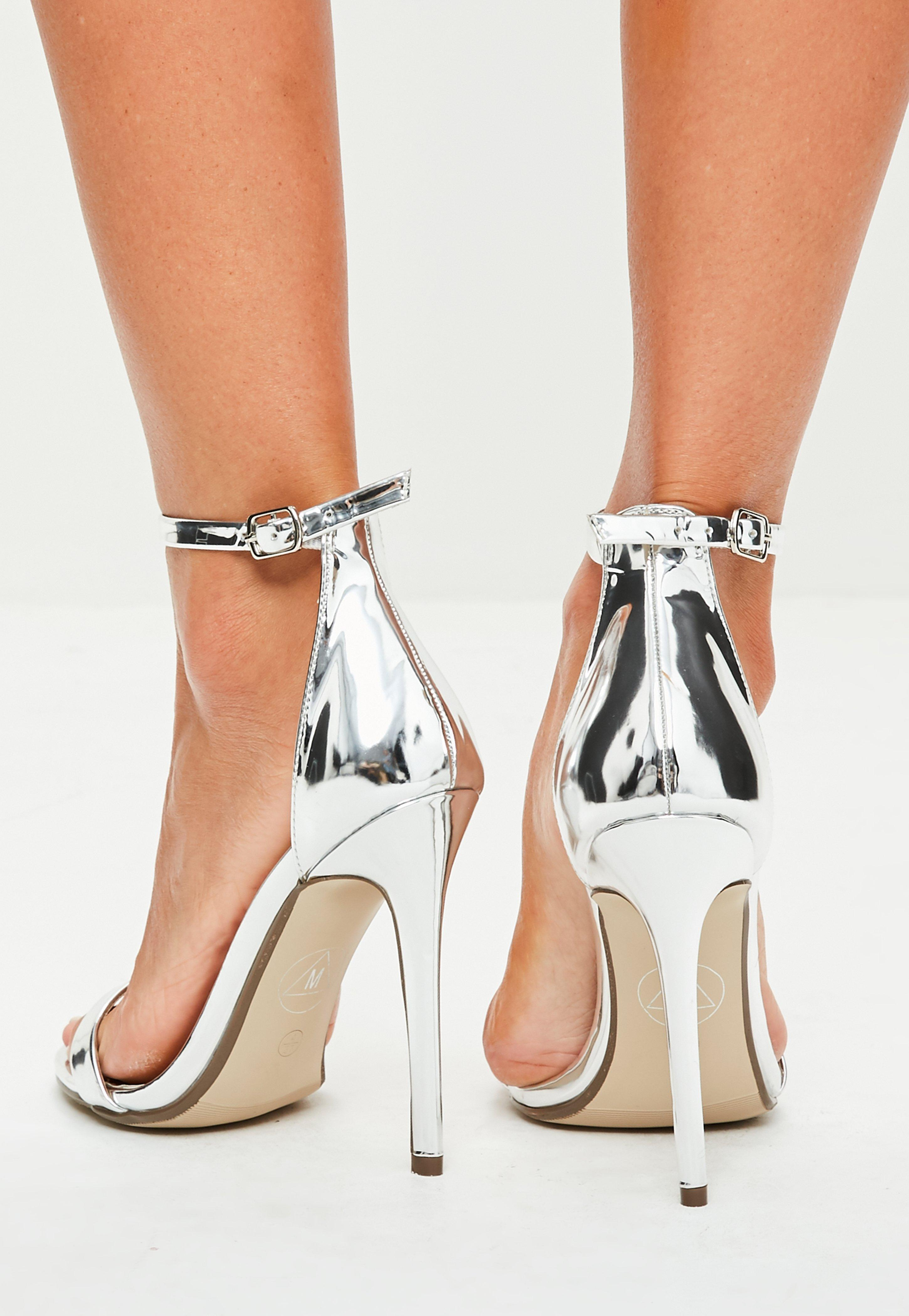 647e8c72e2f Lyst - Missguided Silver Two Strap Barley There Heels in Metallic