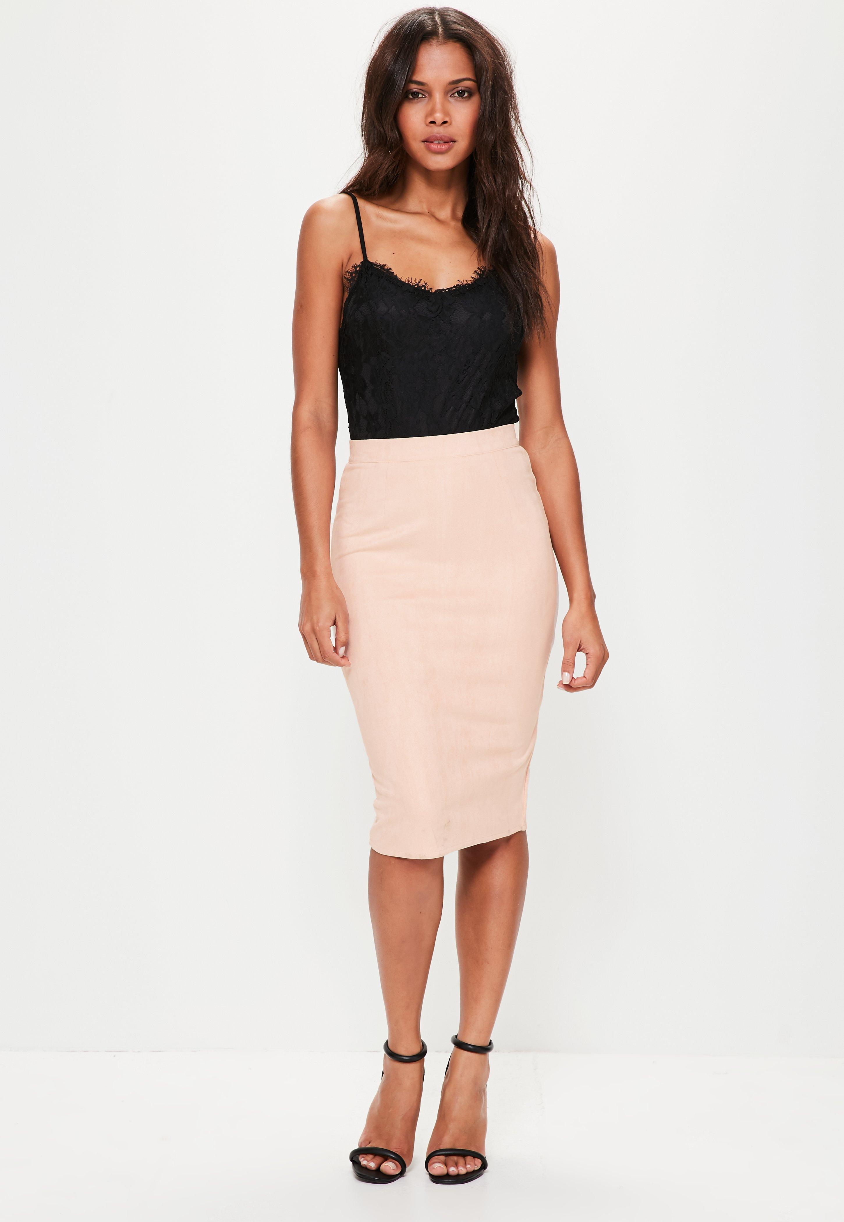 22c655bd956e Missguided - Pink Faux Suede Midi Skirt - Lyst. View fullscreen