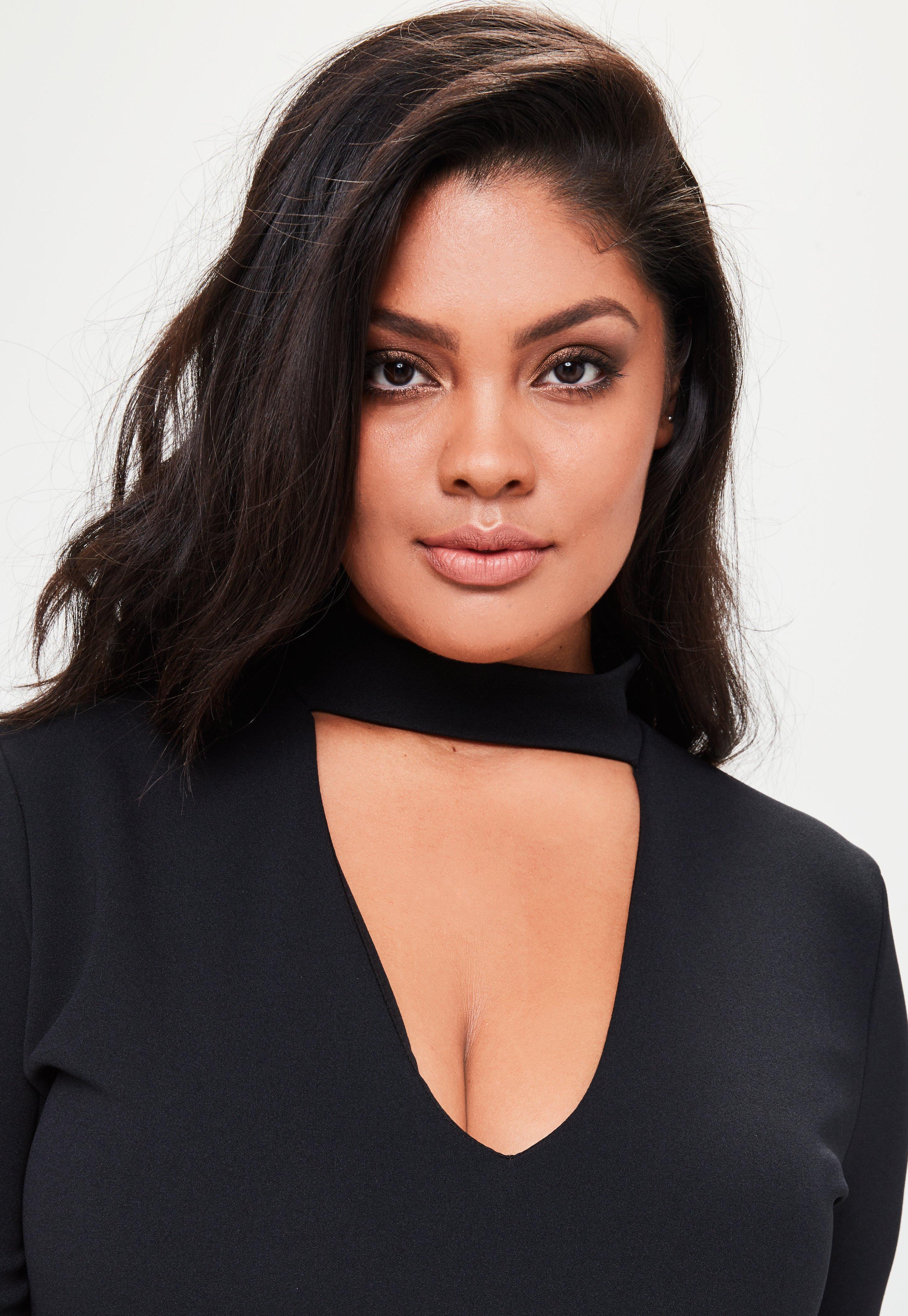 3e211abd53c Lyst - Missguided Plus Size Choker Neck Curve Hem Mini Dress Black ...