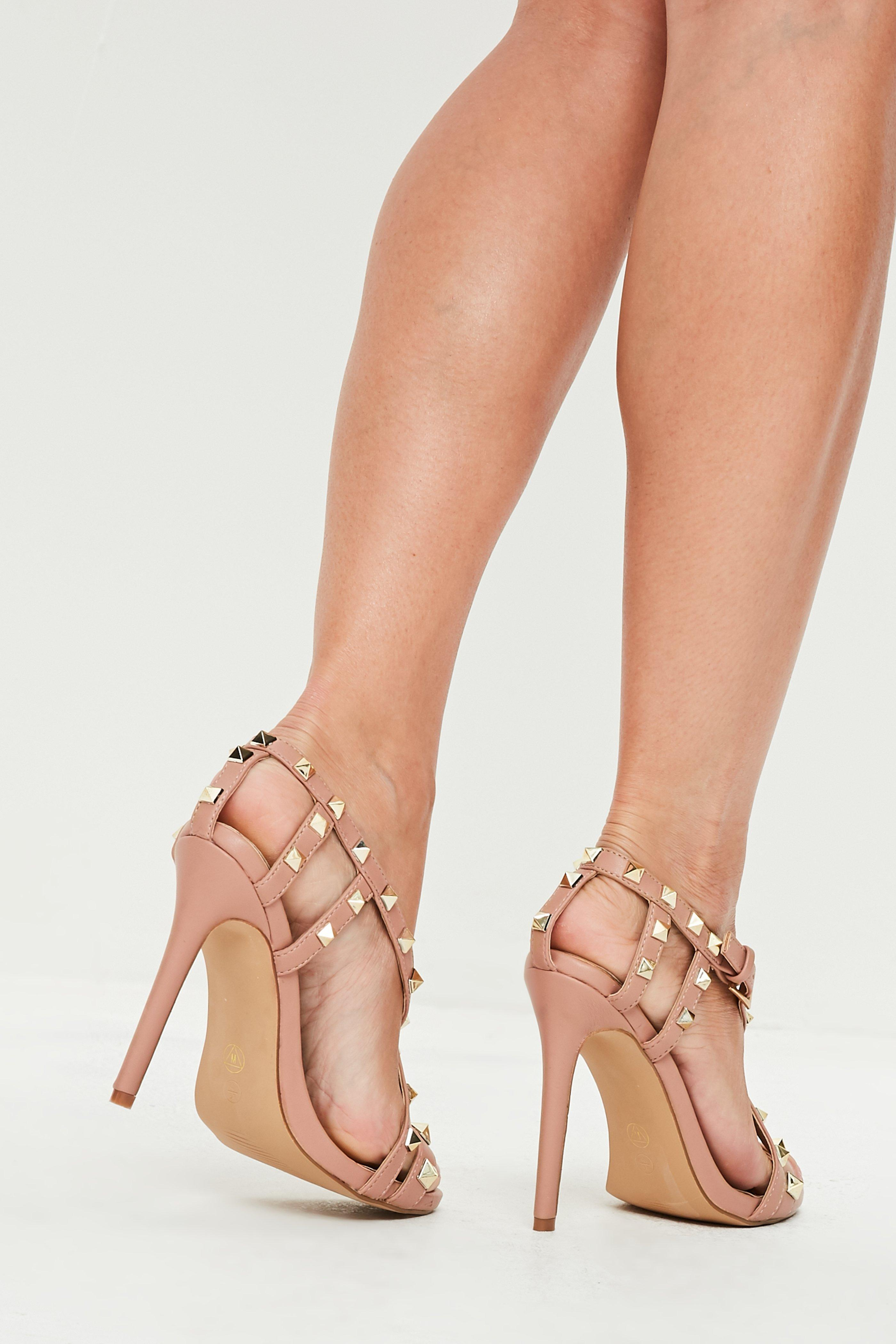 535dc22d2f28 Lyst - Missguided Nude Pyramid Cross Strap Heeled Sandals in Natural
