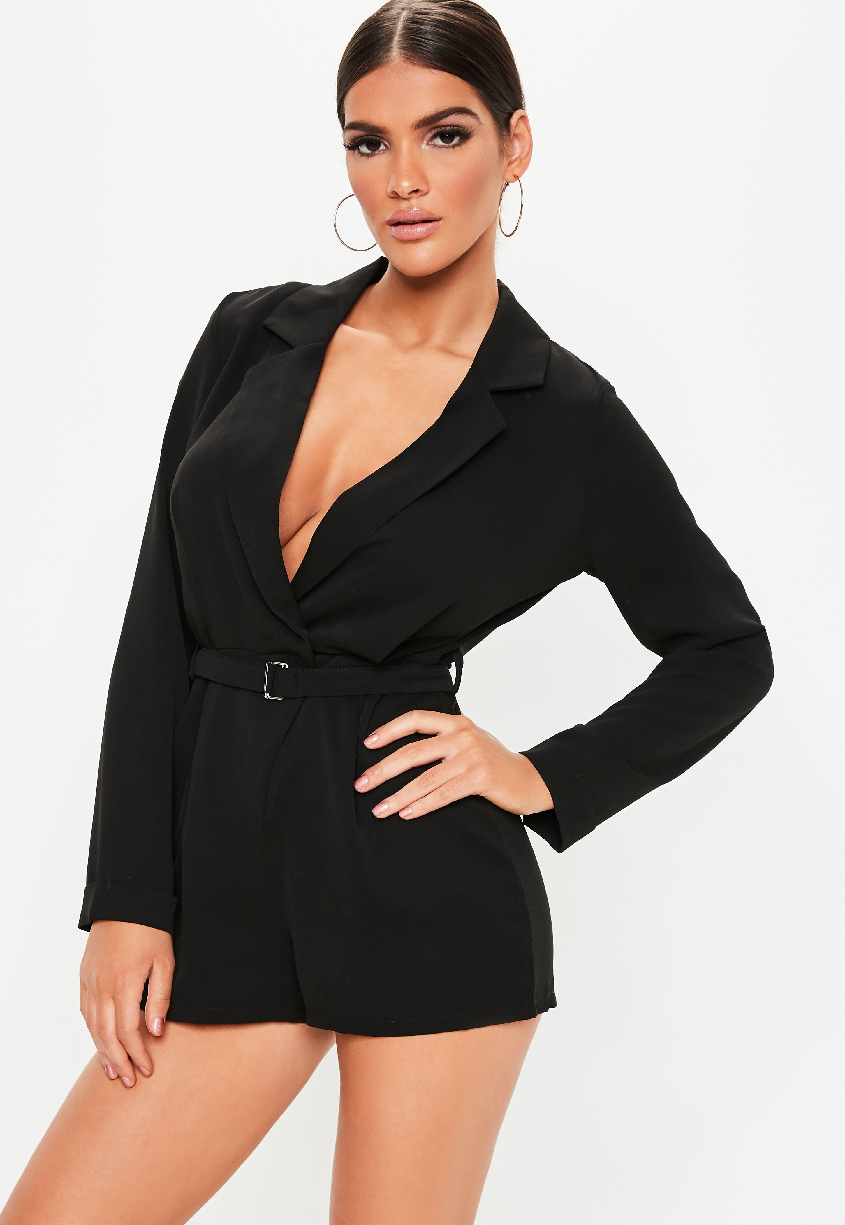 89b3d5e42e0 Lyst - Missguided Tall Black Plunge Tuxedo Playsuit in Black