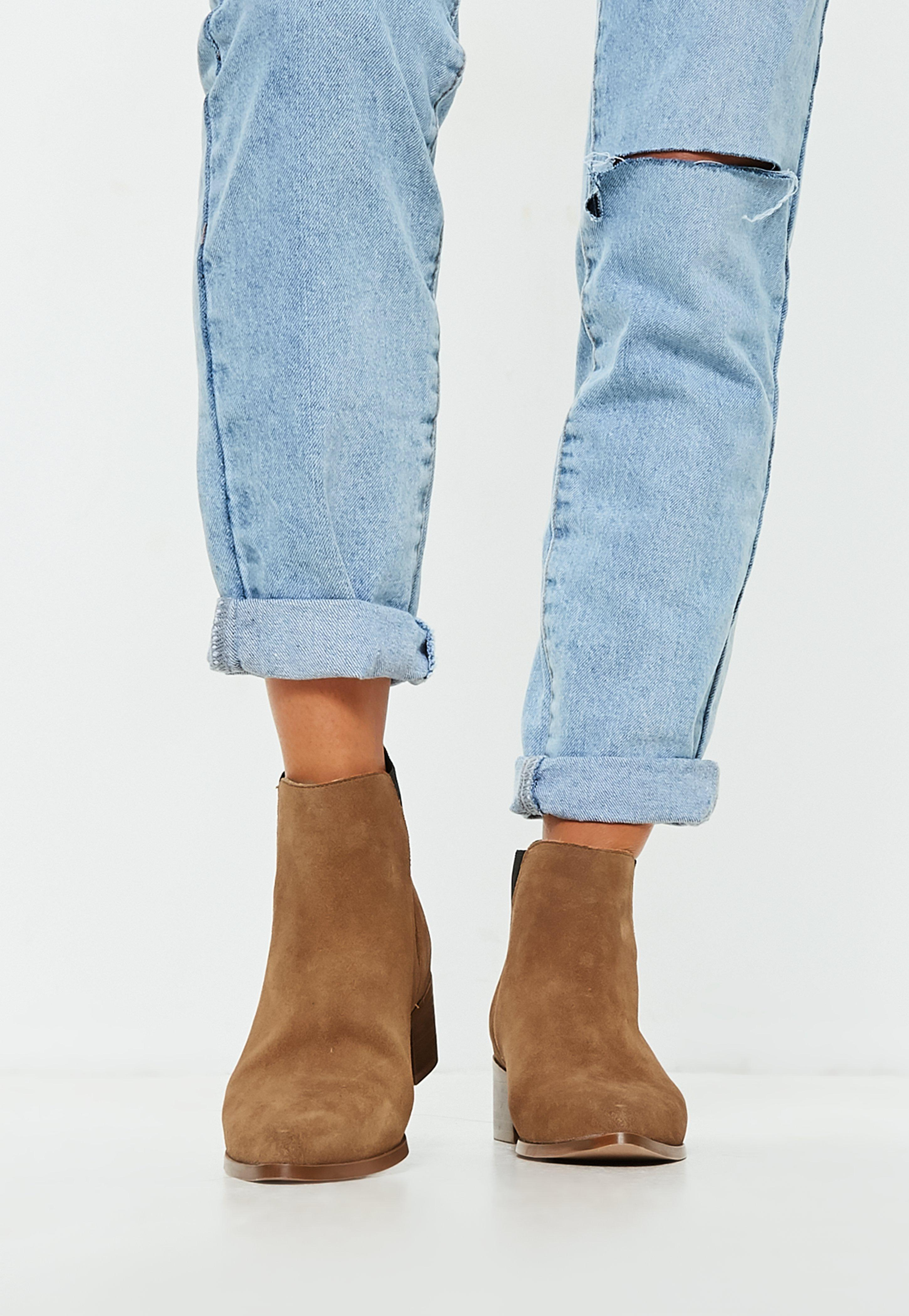 Missguided Tan Real Suede Chelsea Ankle