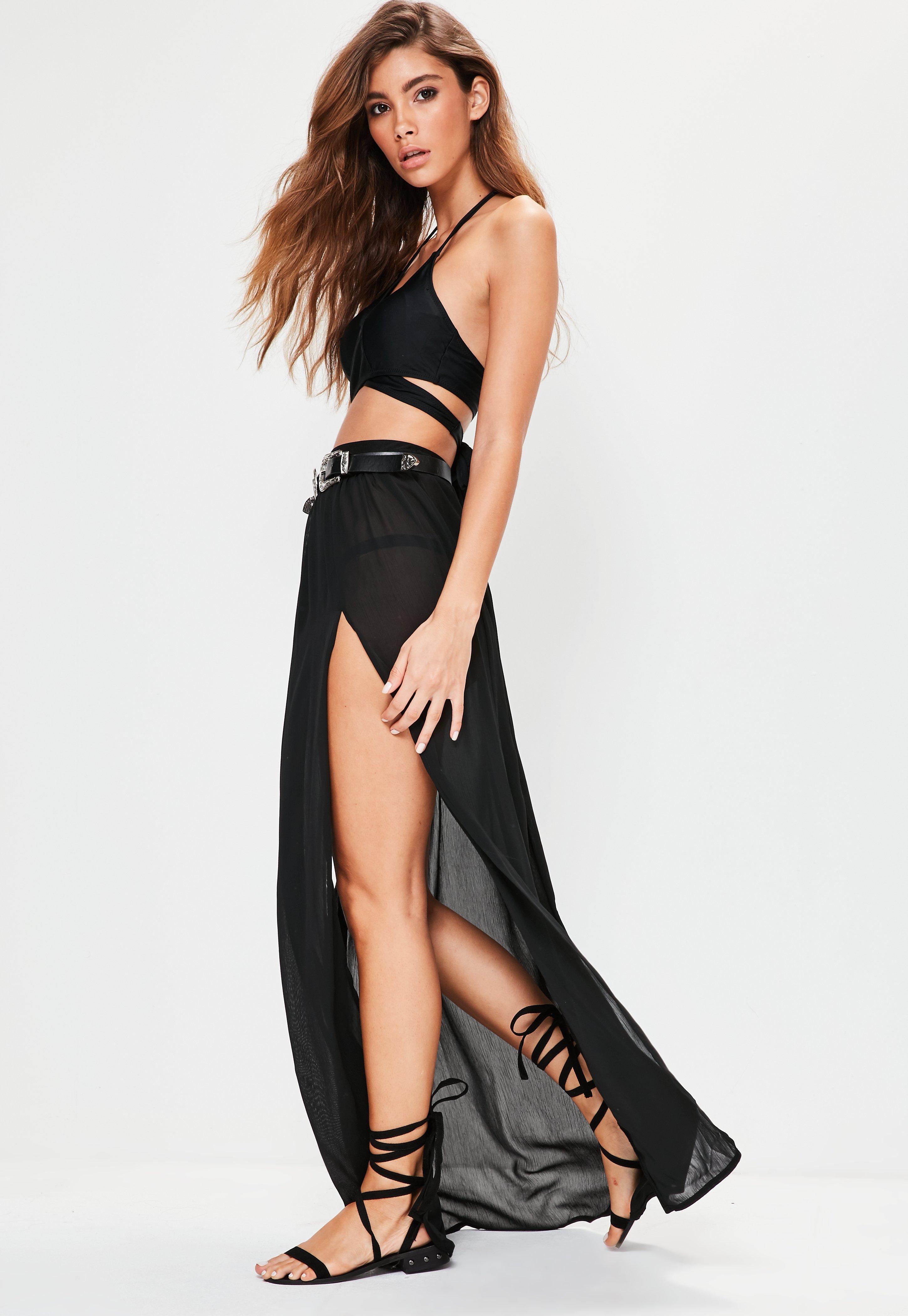 85e650a3e1 Missguided Black Chiffon Double Split Beach Maxi Skirt in Black - Lyst