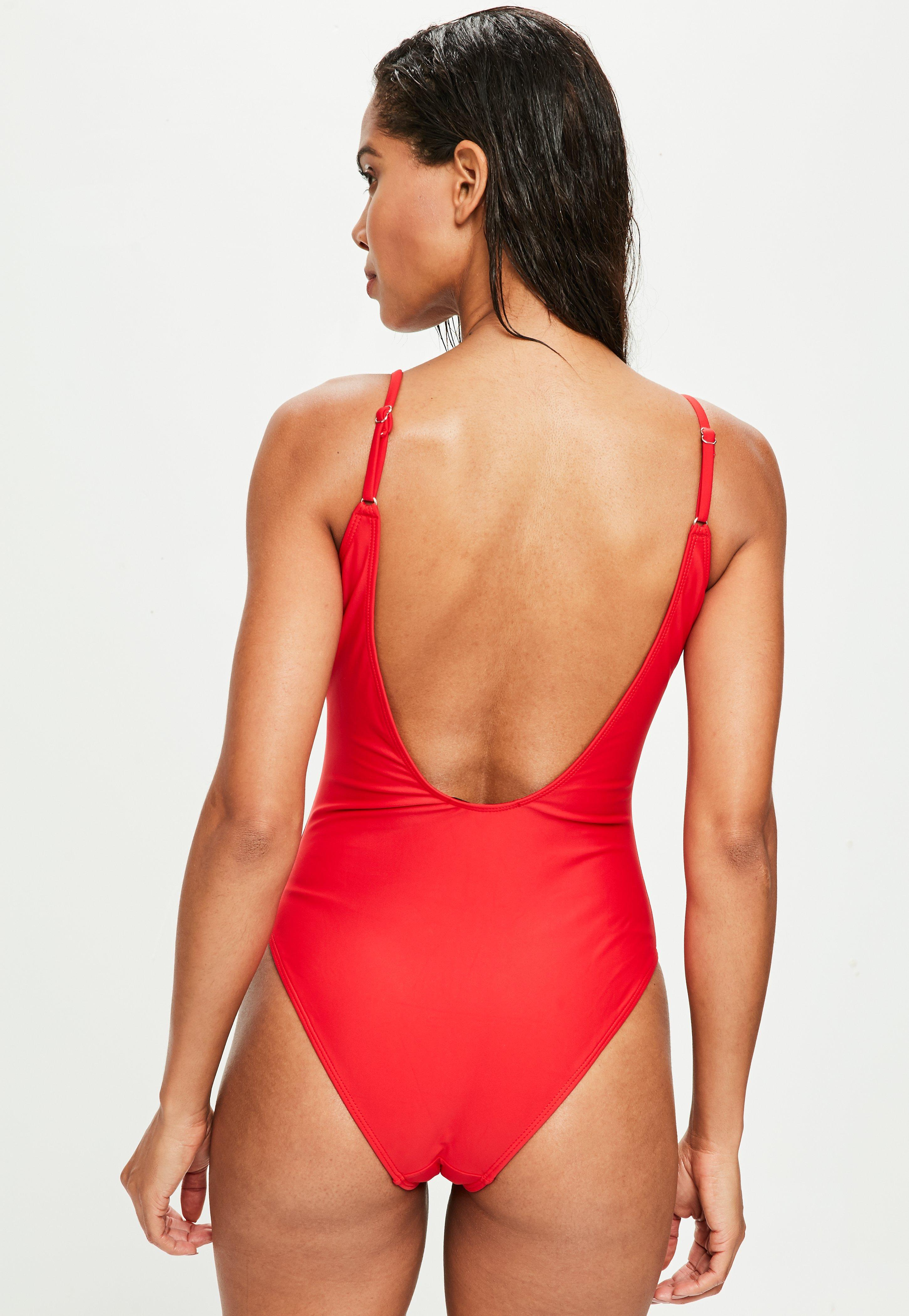087179ea115 Lyst - Missguided Miss Universe Red Slogan Swimsuit in Red