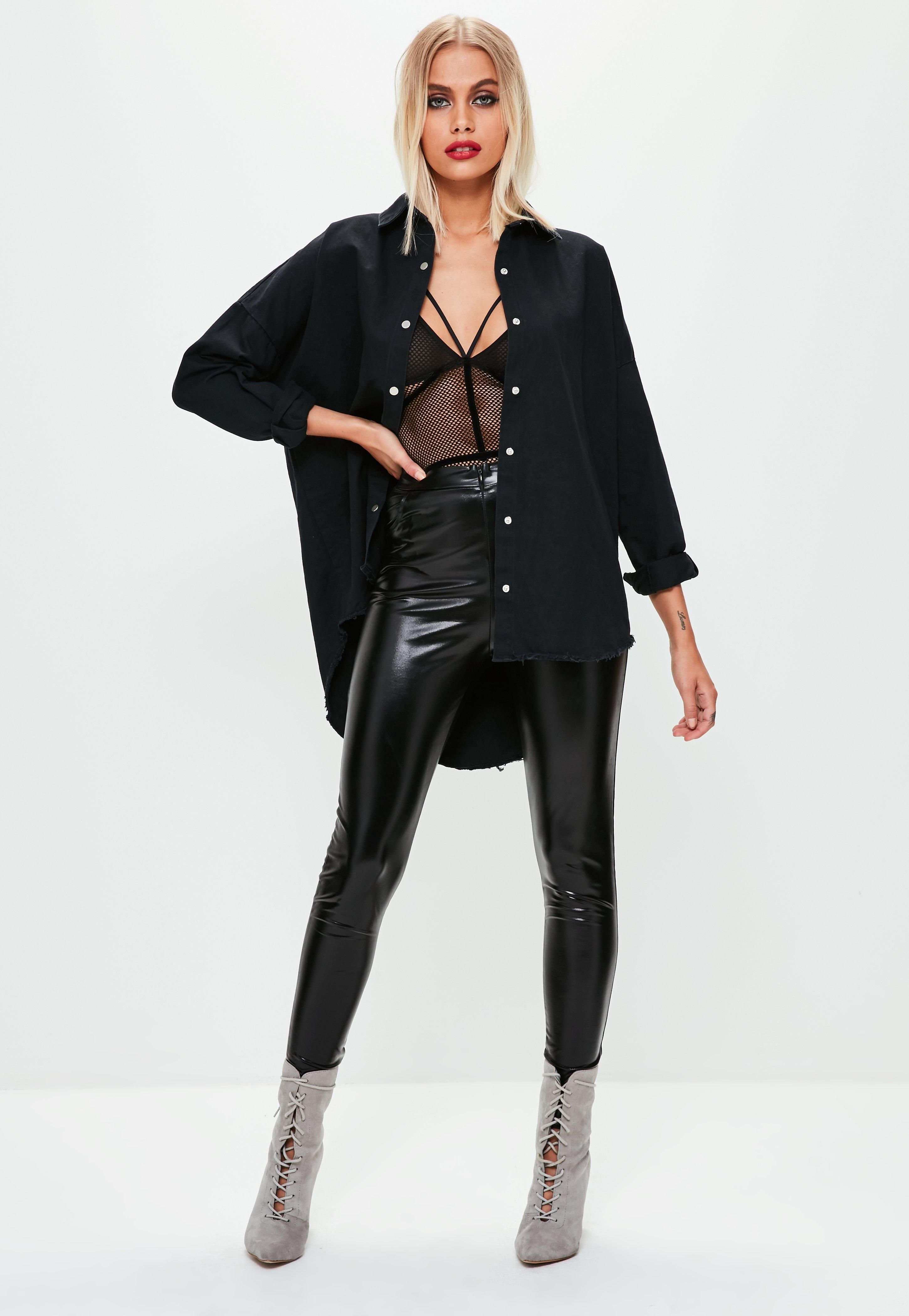 096ad1f707 Missguided - Black Oversized Washed Denim Shirt - Lyst. View fullscreen