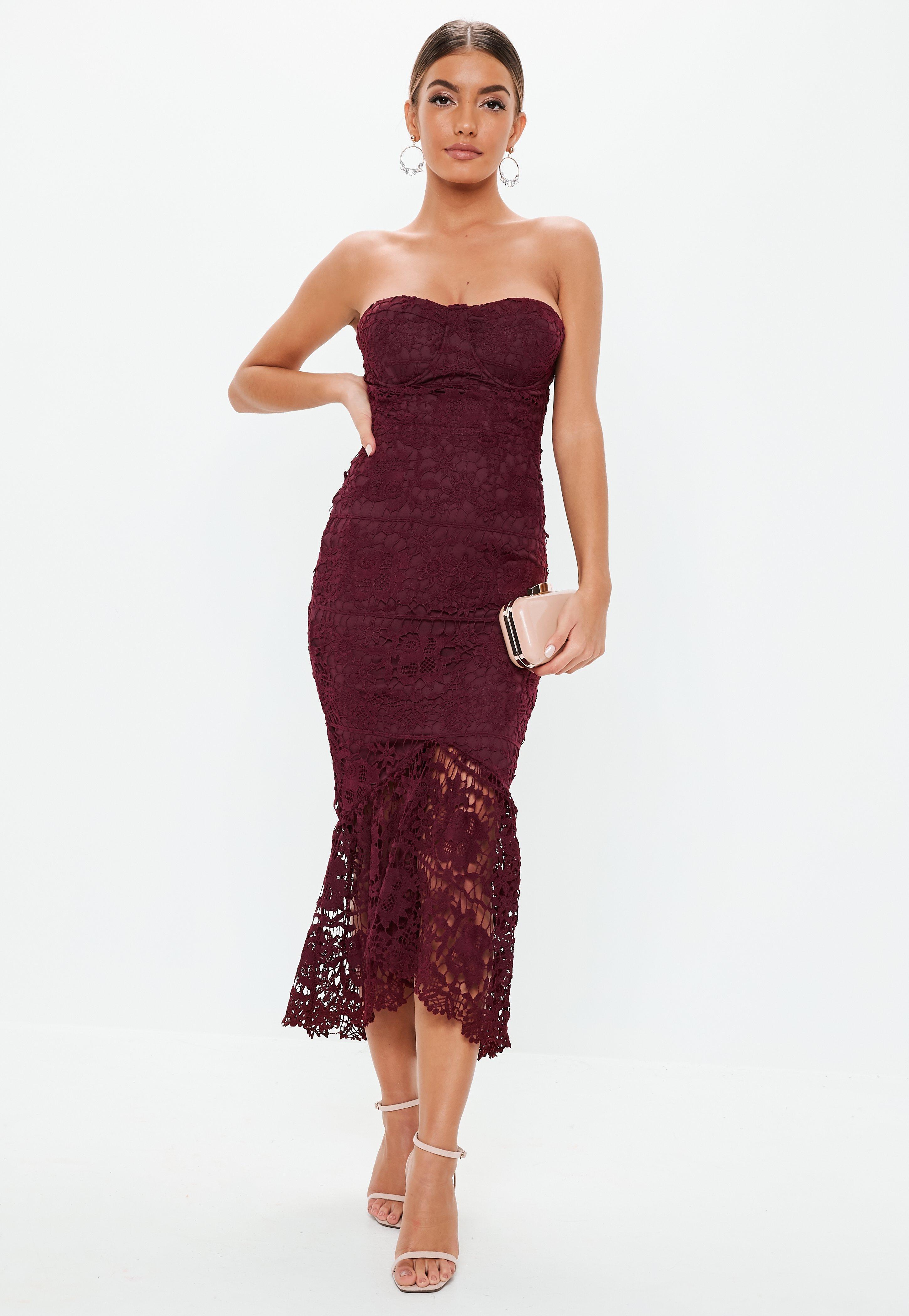 Burgundy Lace Bandeau Bust Cup Midi Dress