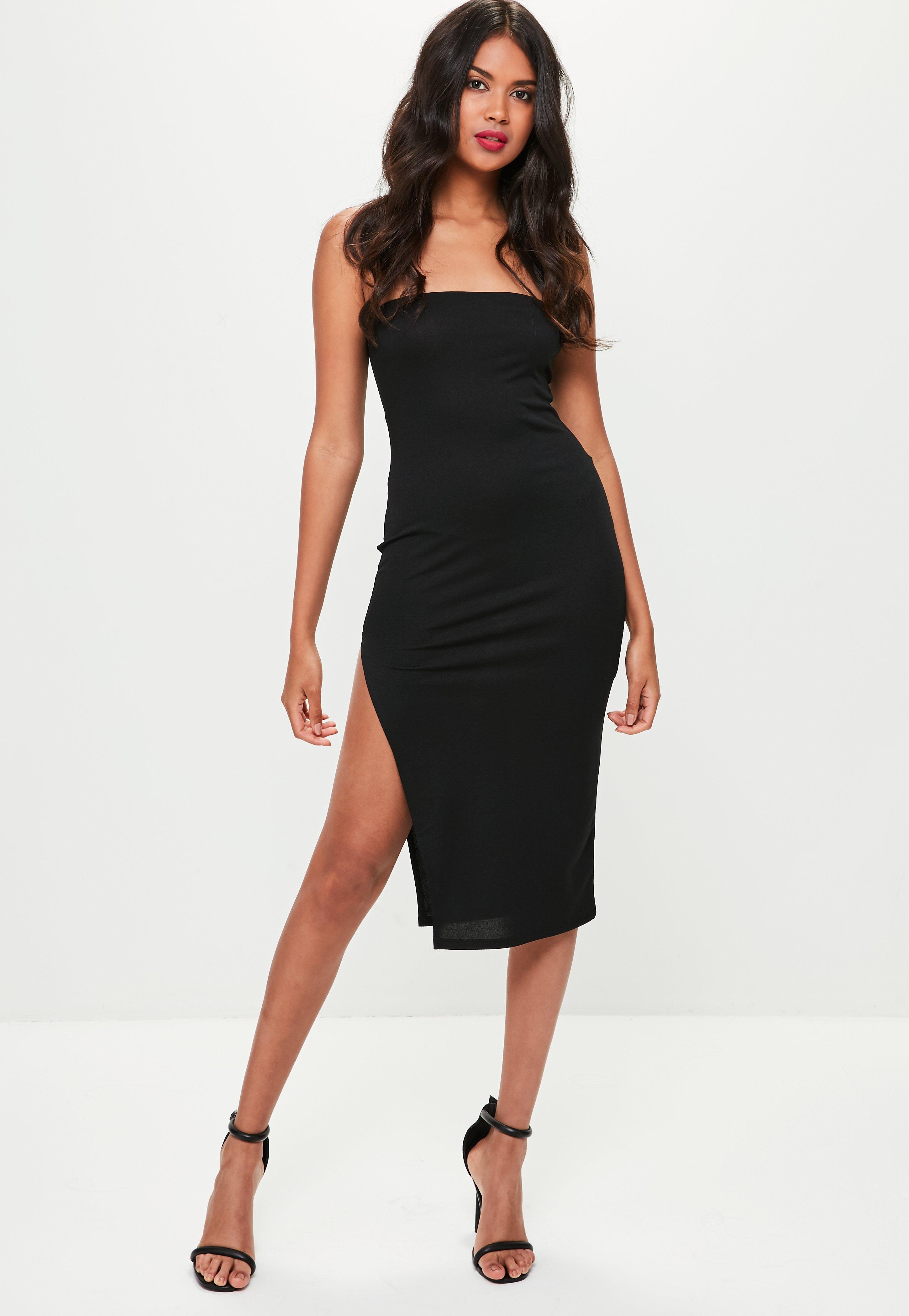 Lyst - Missguided Black Split Side Bandeau Midi Dress in Black 33a9e8430