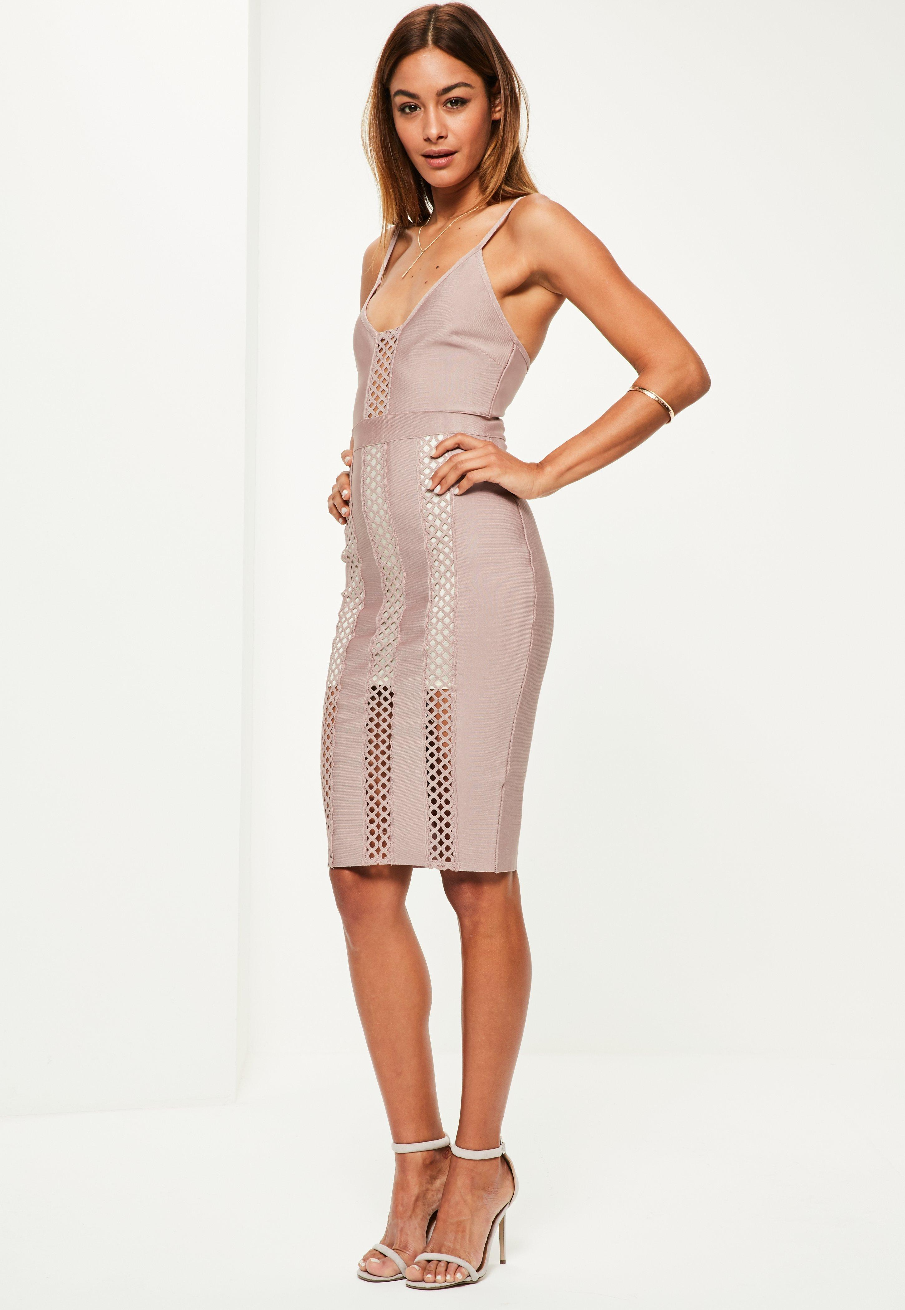 6de3c6bedc Lyst - Missguided Purple Bandage And Lace Insert Midi Dress in Purple