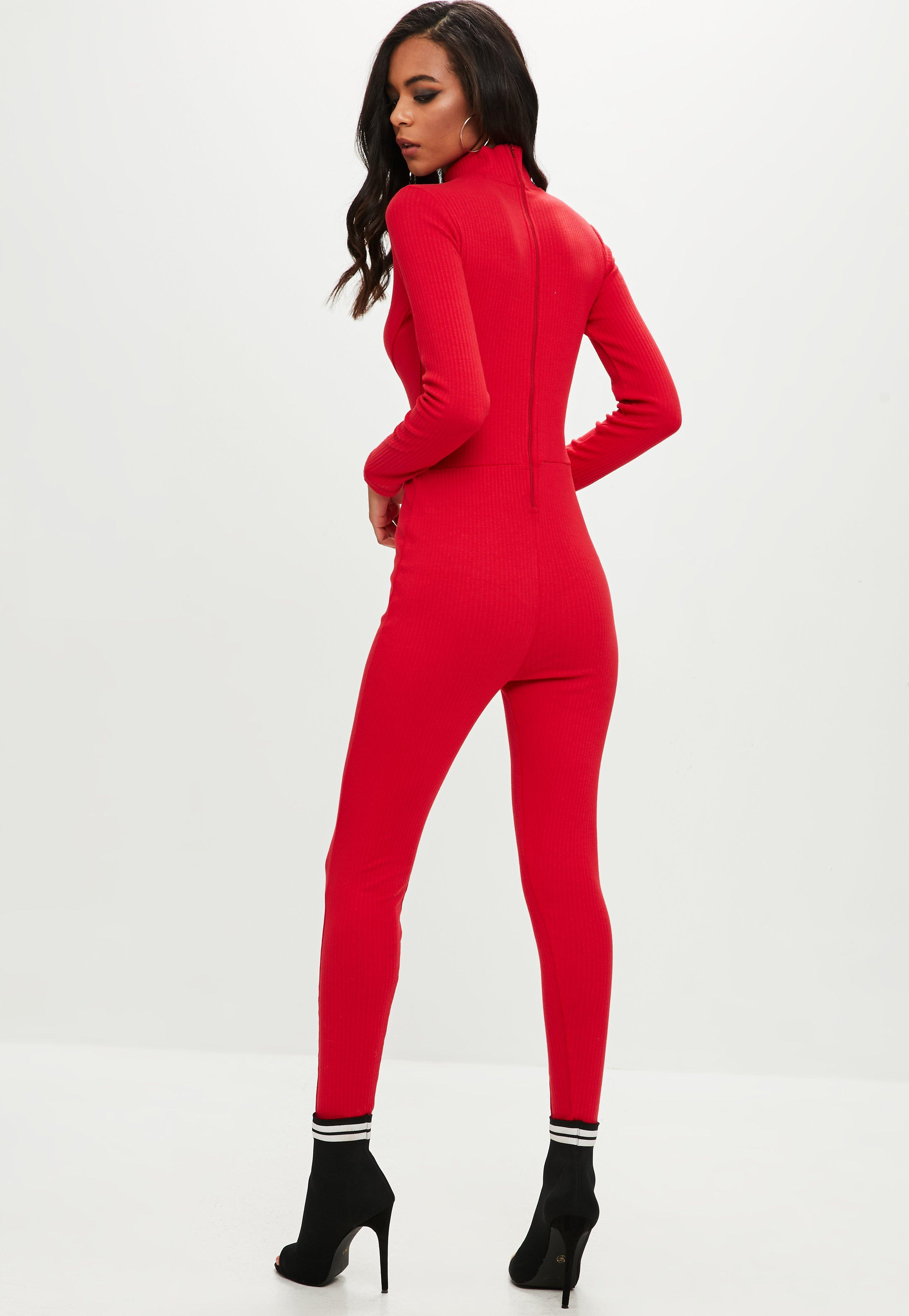 46cd89c20259 Lyst - Missguided Red Ribbed High Neck Jumpsuit in Red