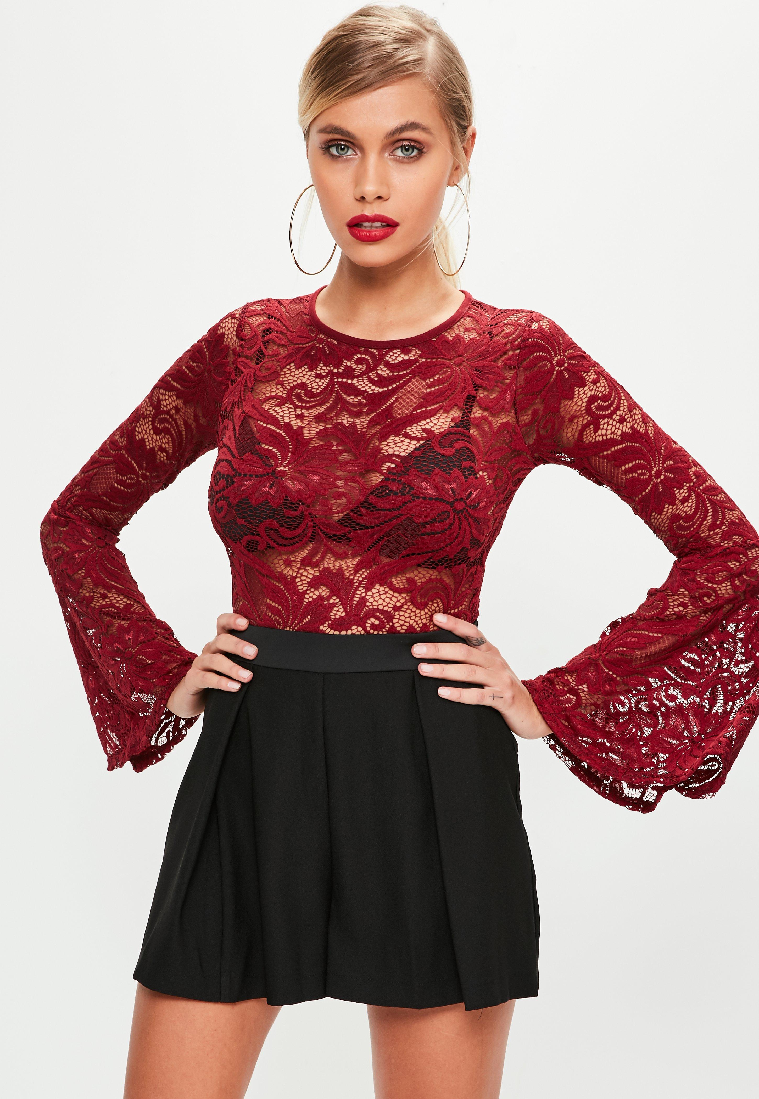 1373c932e4 Missguided Burgundy Lace Bodysuit in Red - Lyst