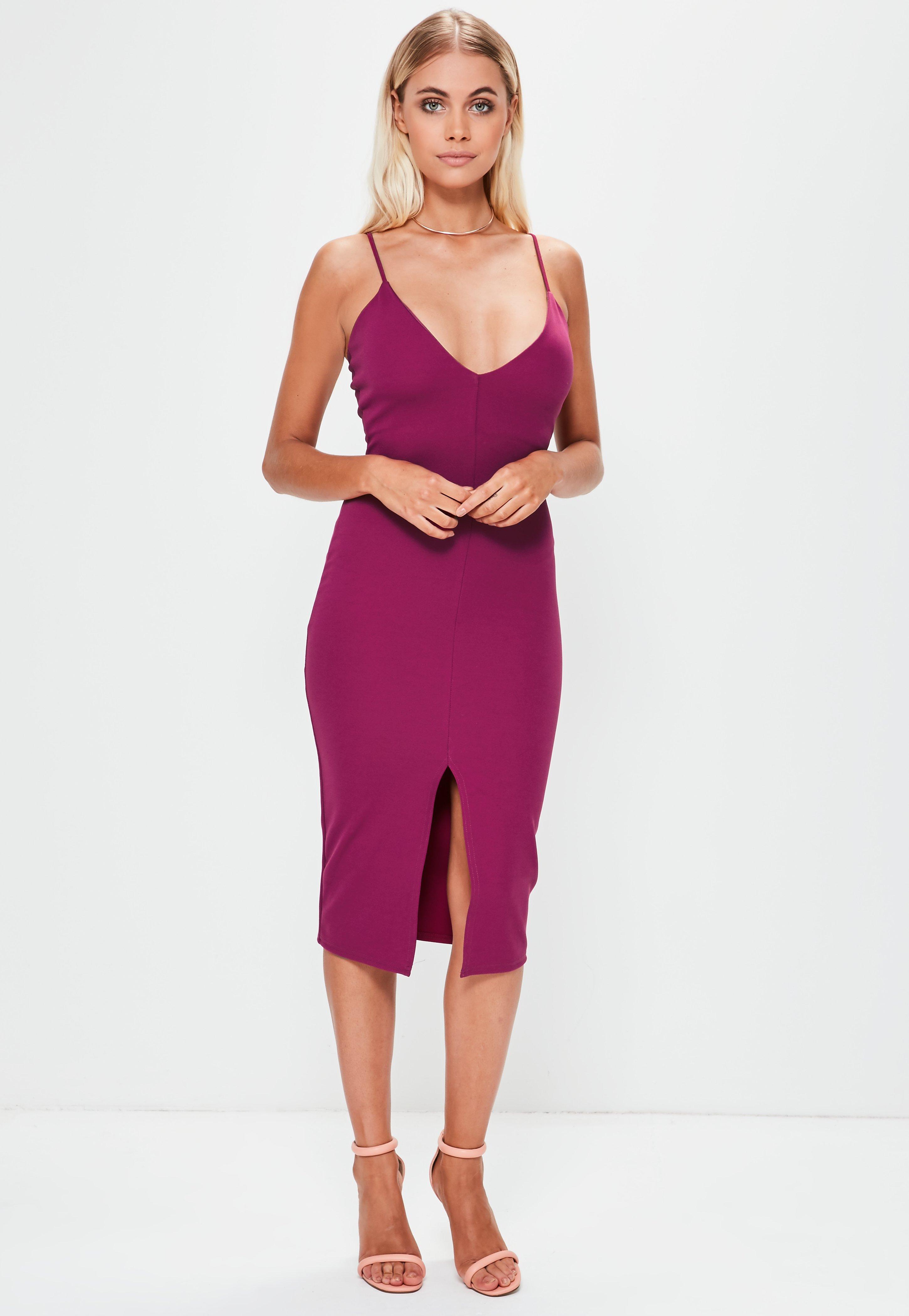2e5d73822f Lyst - Missguided Purple Scuba Plunge Split Front Midi Dress in Purple