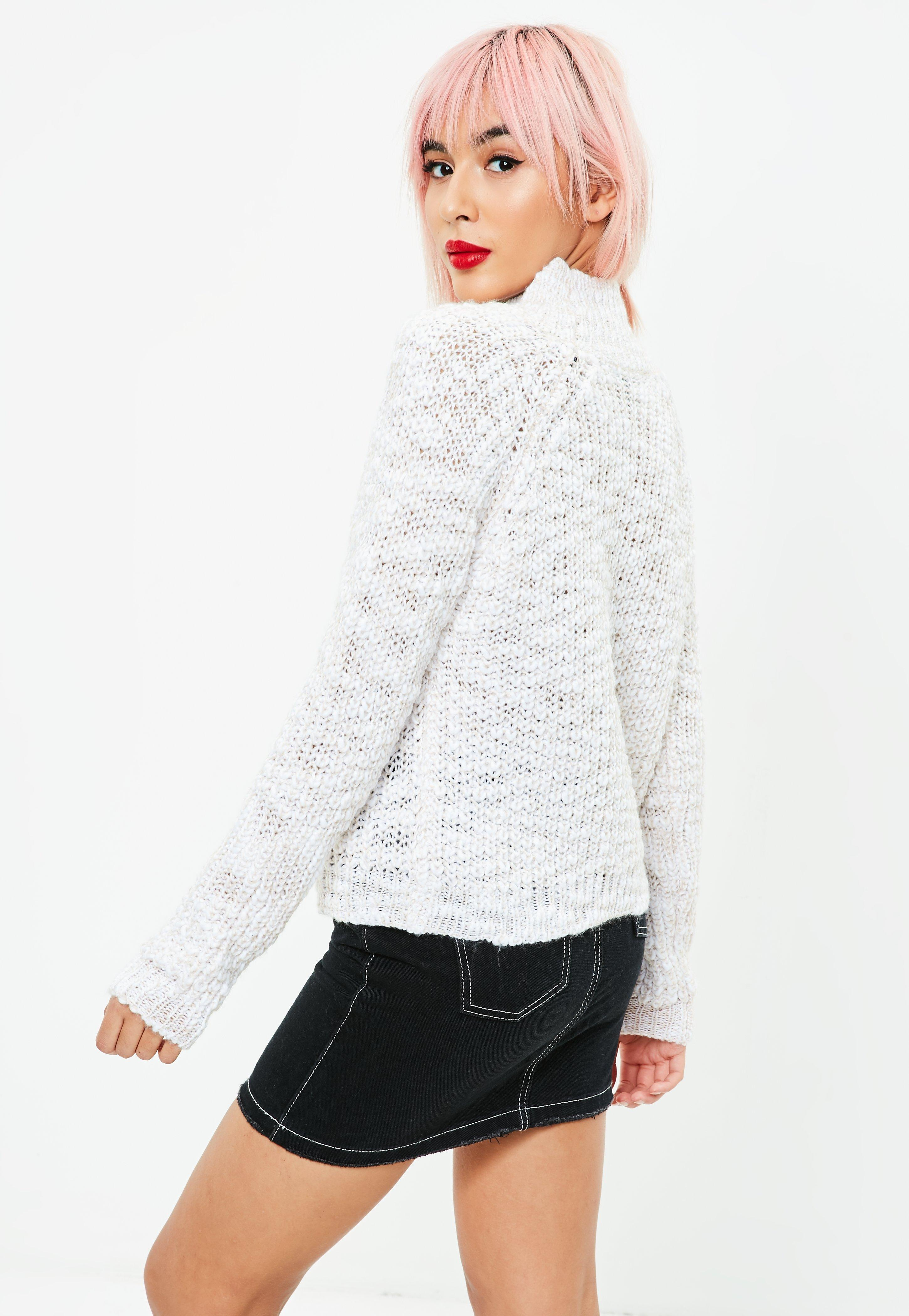 Missguided Cream High Neck Cropped Jumper | Lyst