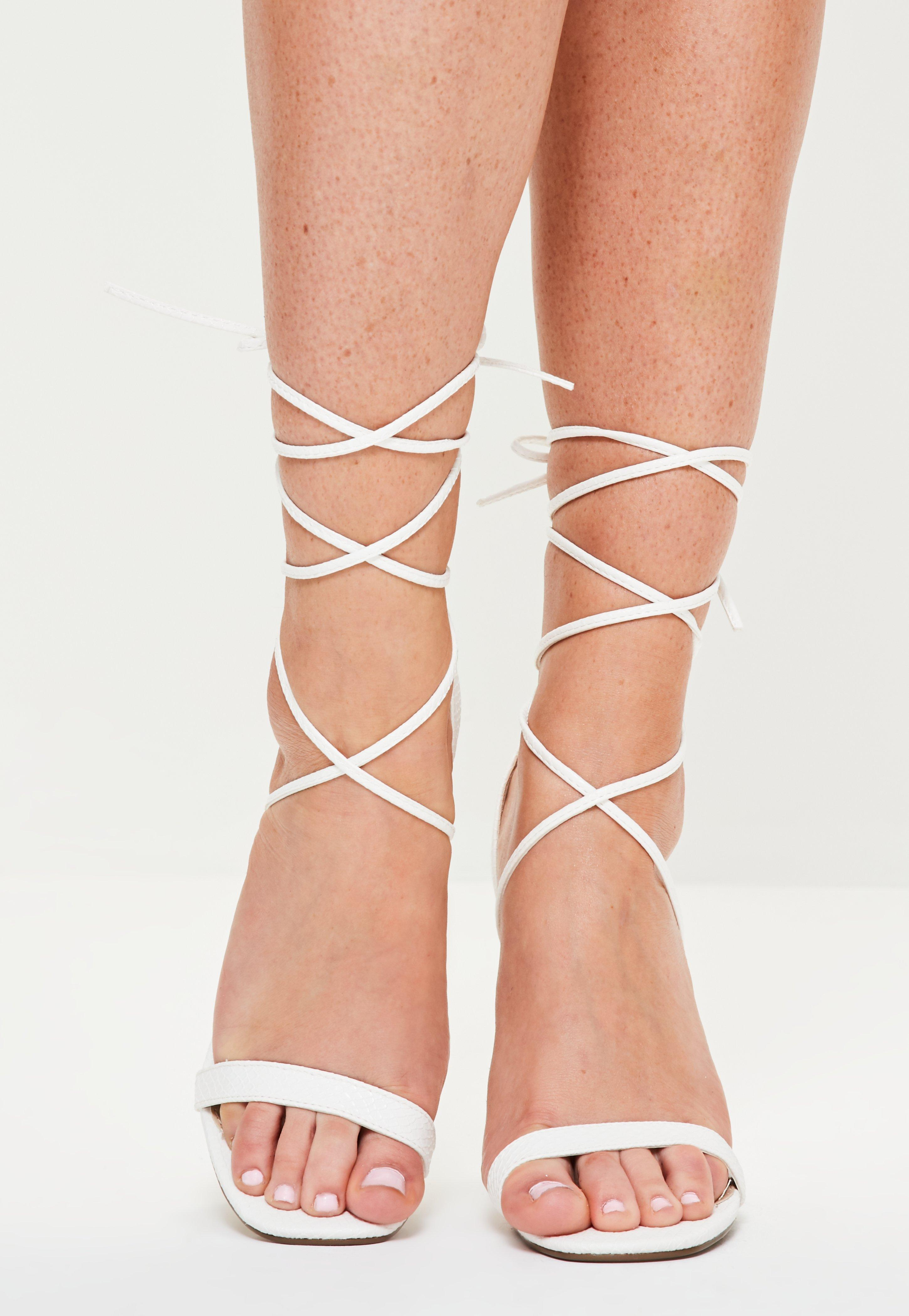 94c78770cd5e Lyst - Missguided Lace Up Barely There Heeled Sandals White Croc in ...