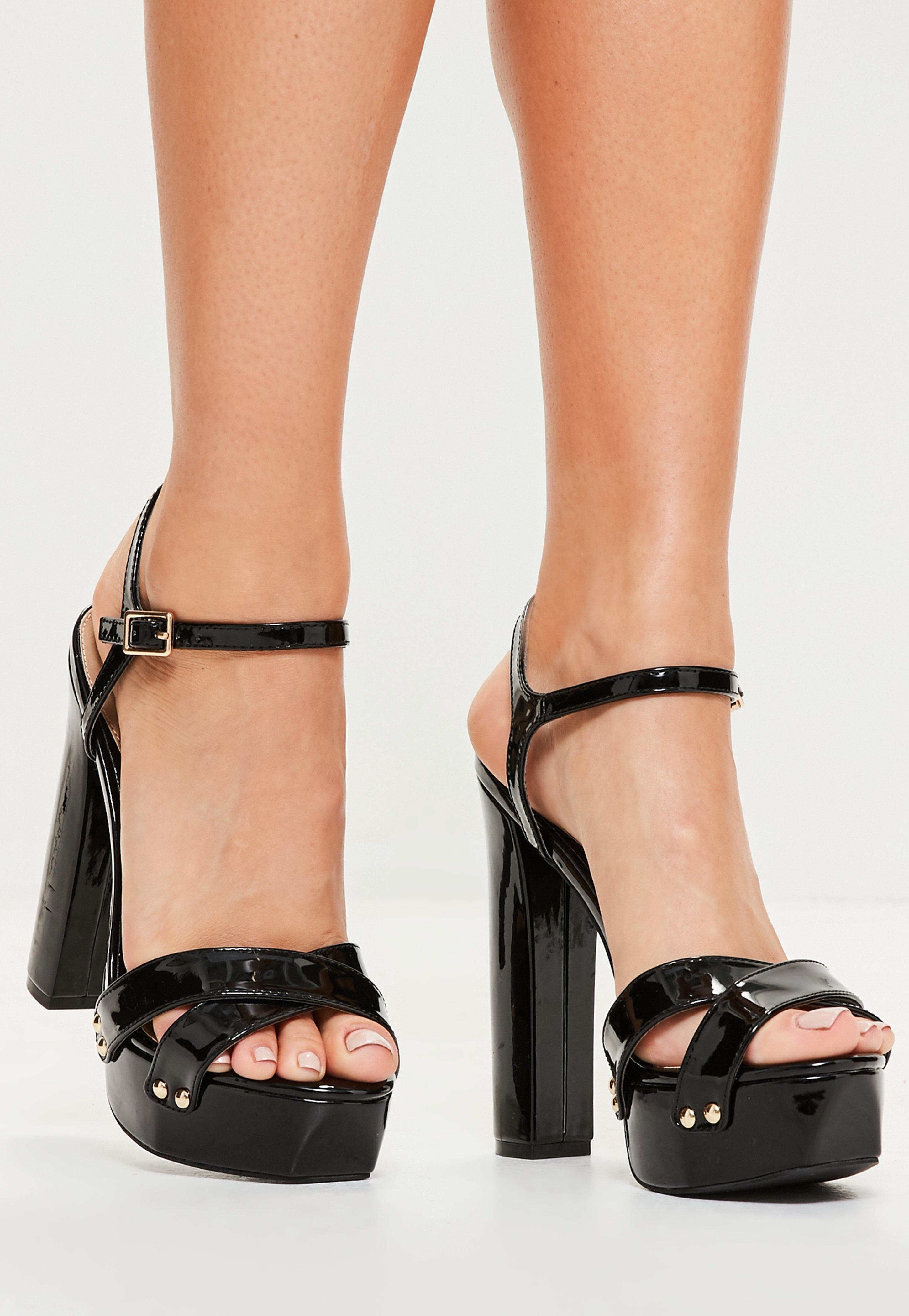 ee069bde85f Missguided Black Vinyl Studded Platform Sandals in Black - Lyst