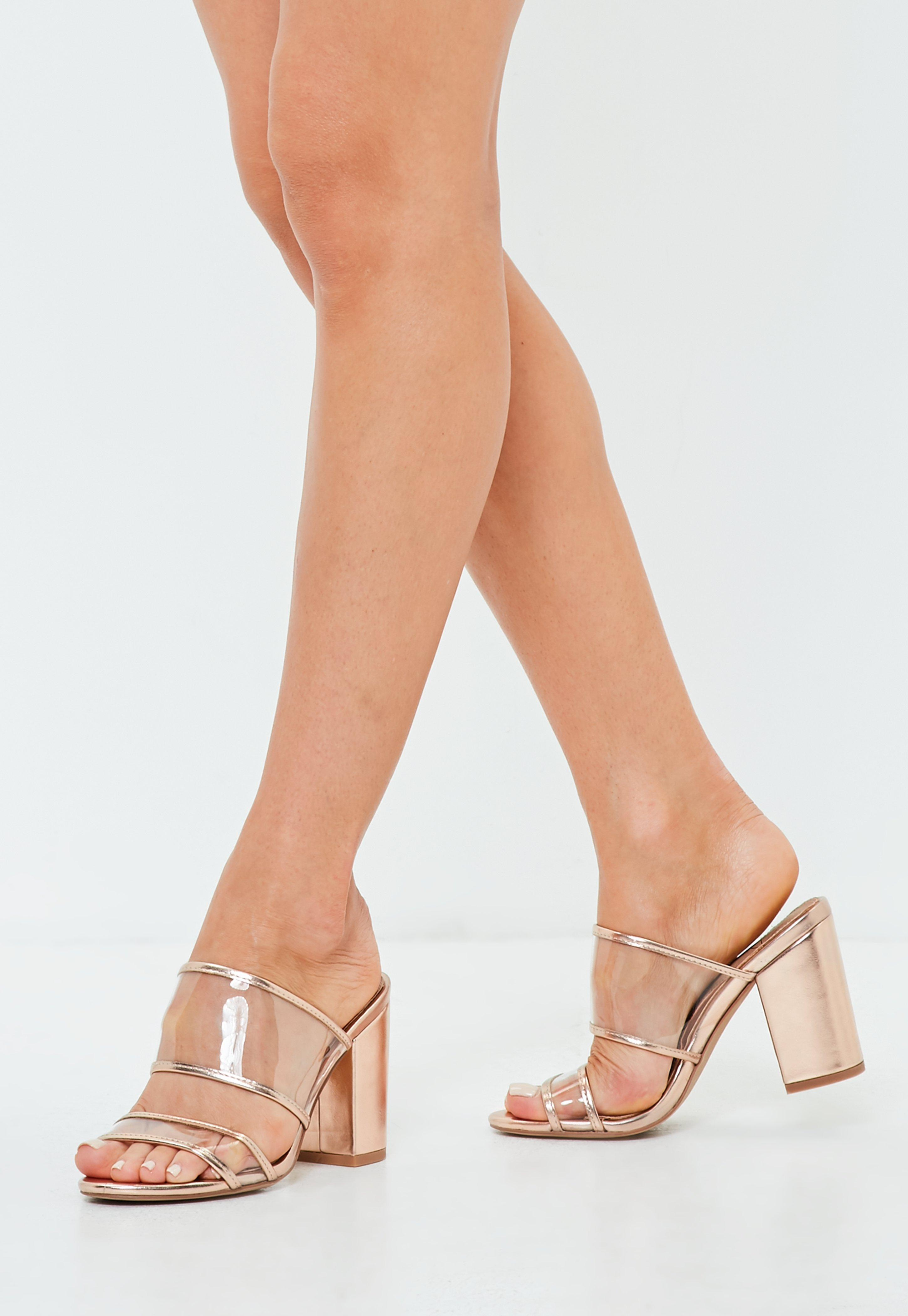 e0f1781d368 Lyst - Missguided Rose Gold Two Strap Perspex Heeled Mules in Pink