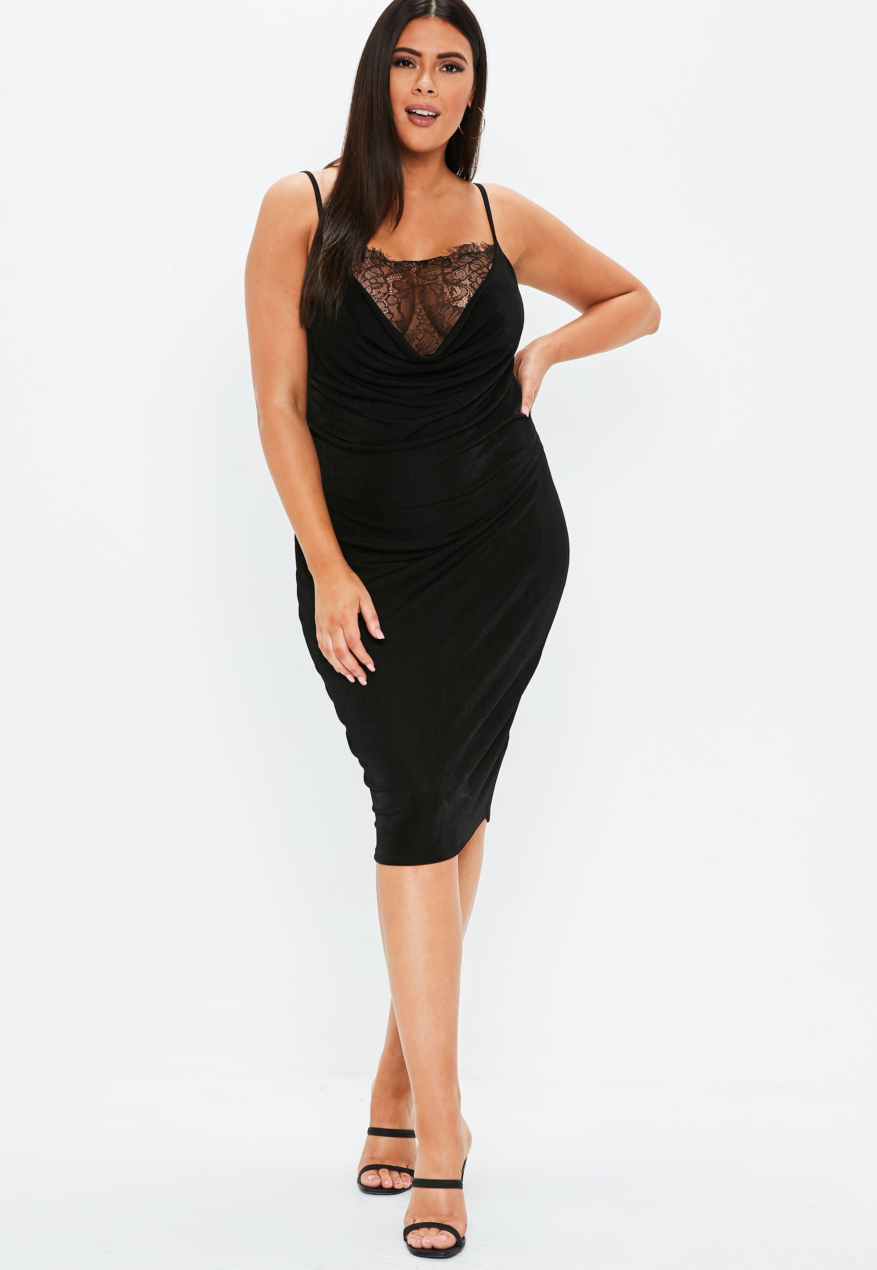 507fe64a2e Lyst - Missguided Plus Size Black Lace Cowl Neck Midi Dress in Black
