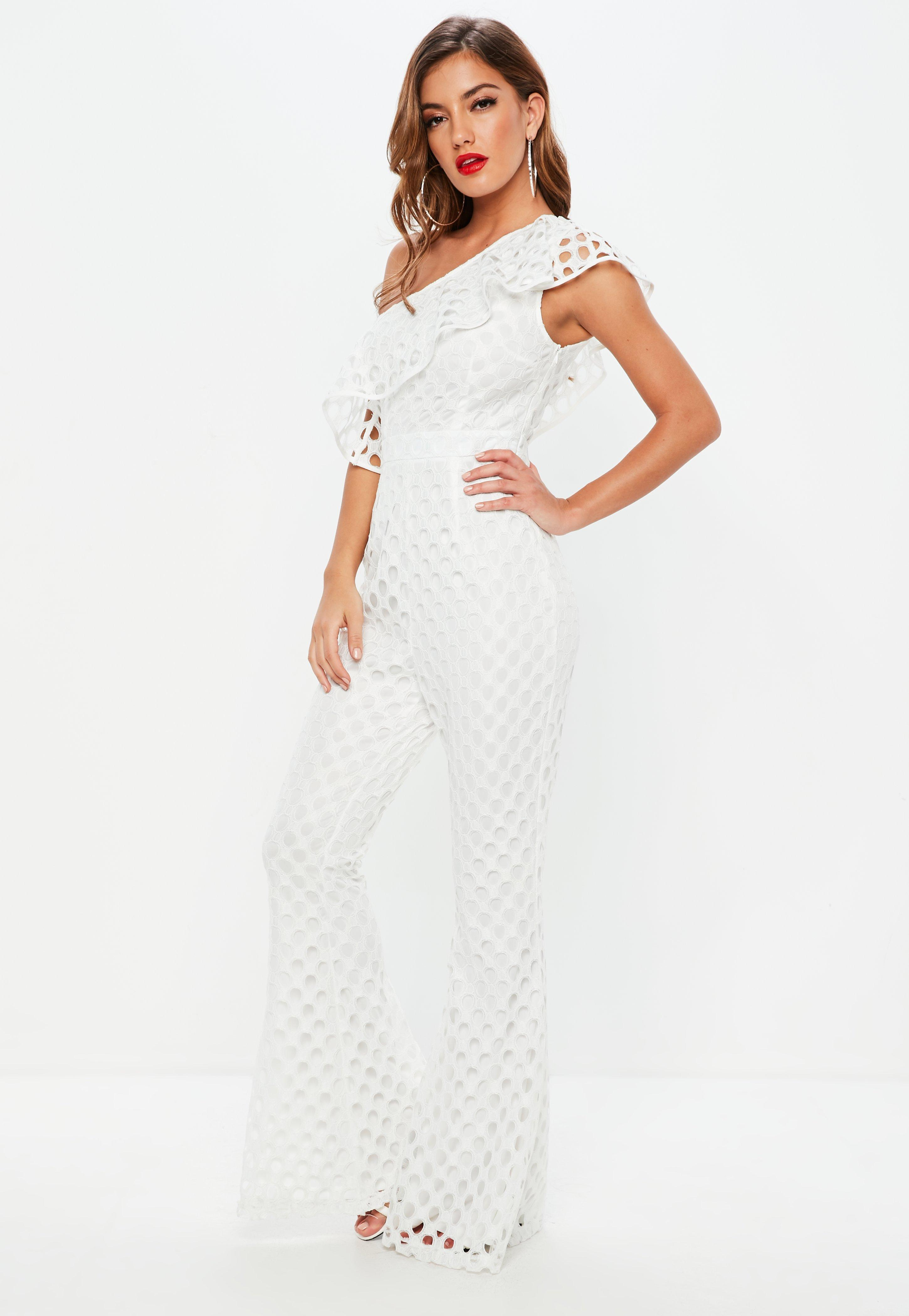 Lyst Missguided White One Shoulder Open Lace Jumpsuit In White