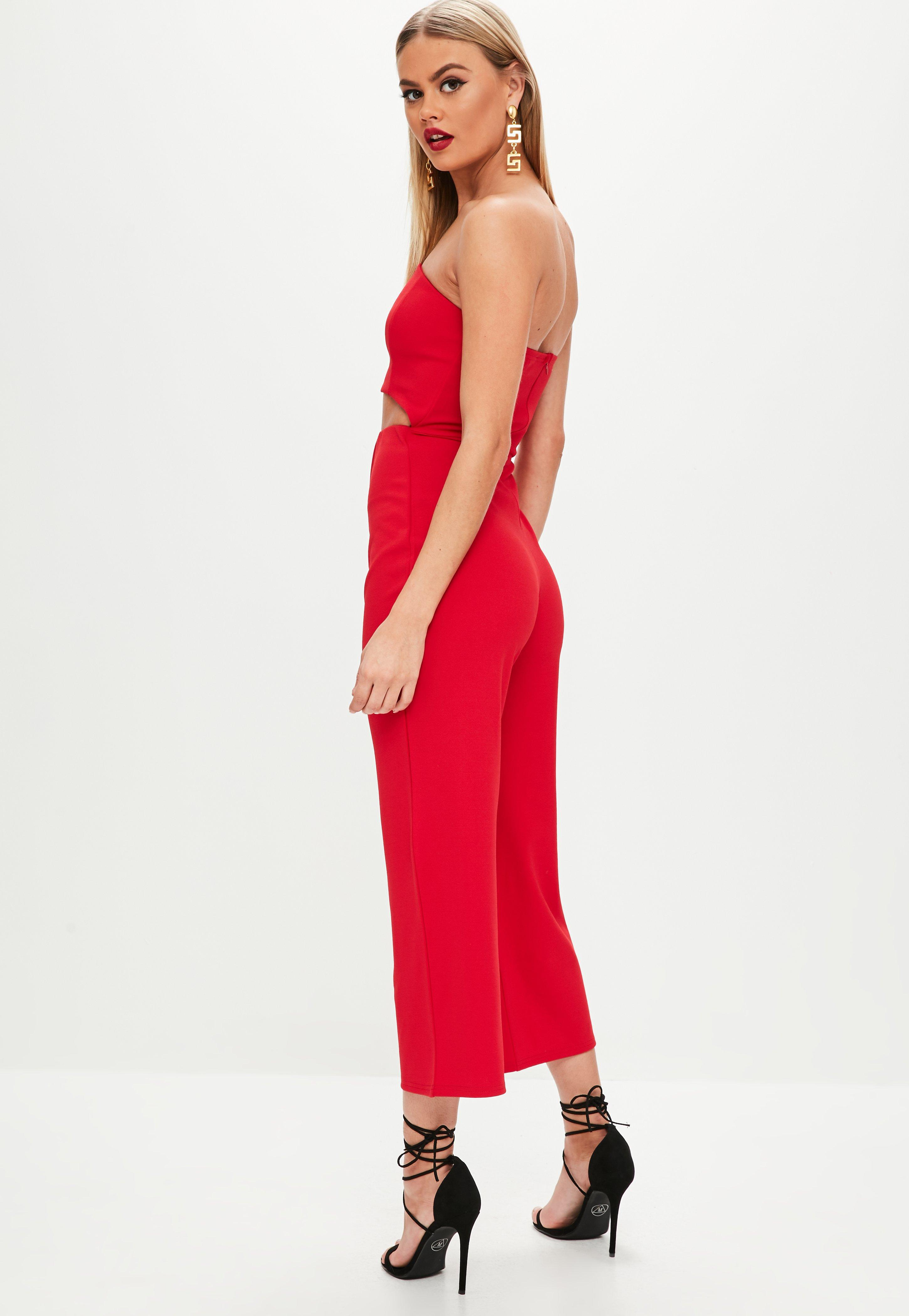944006886cec Lyst - Missguided Red Cut Out Bandeau Culotte Jumpsuit in Red