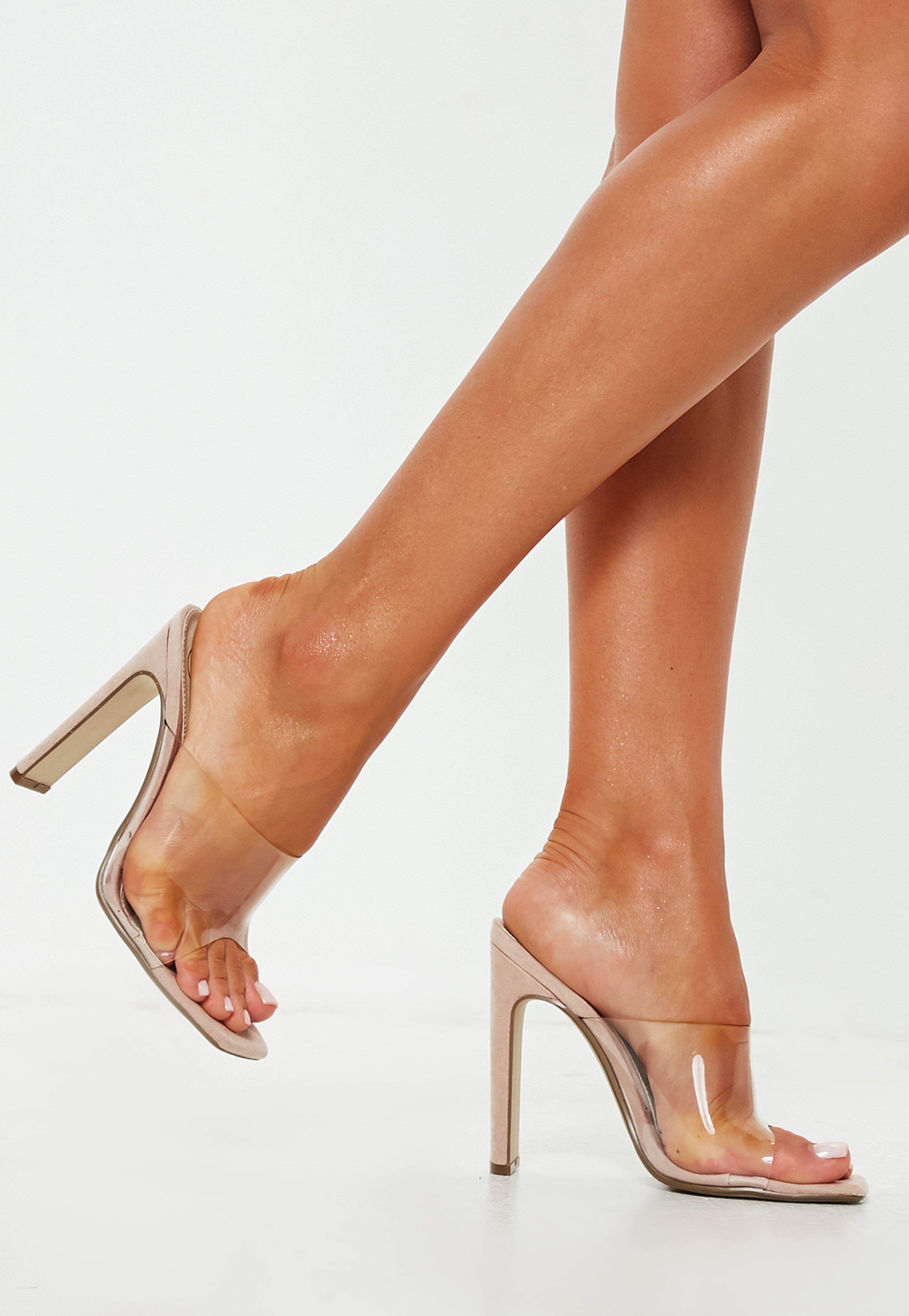 e60862fdc8552f Missguided Nude Square Toe Clear Strap Illusion Heel Mule in Natural ...