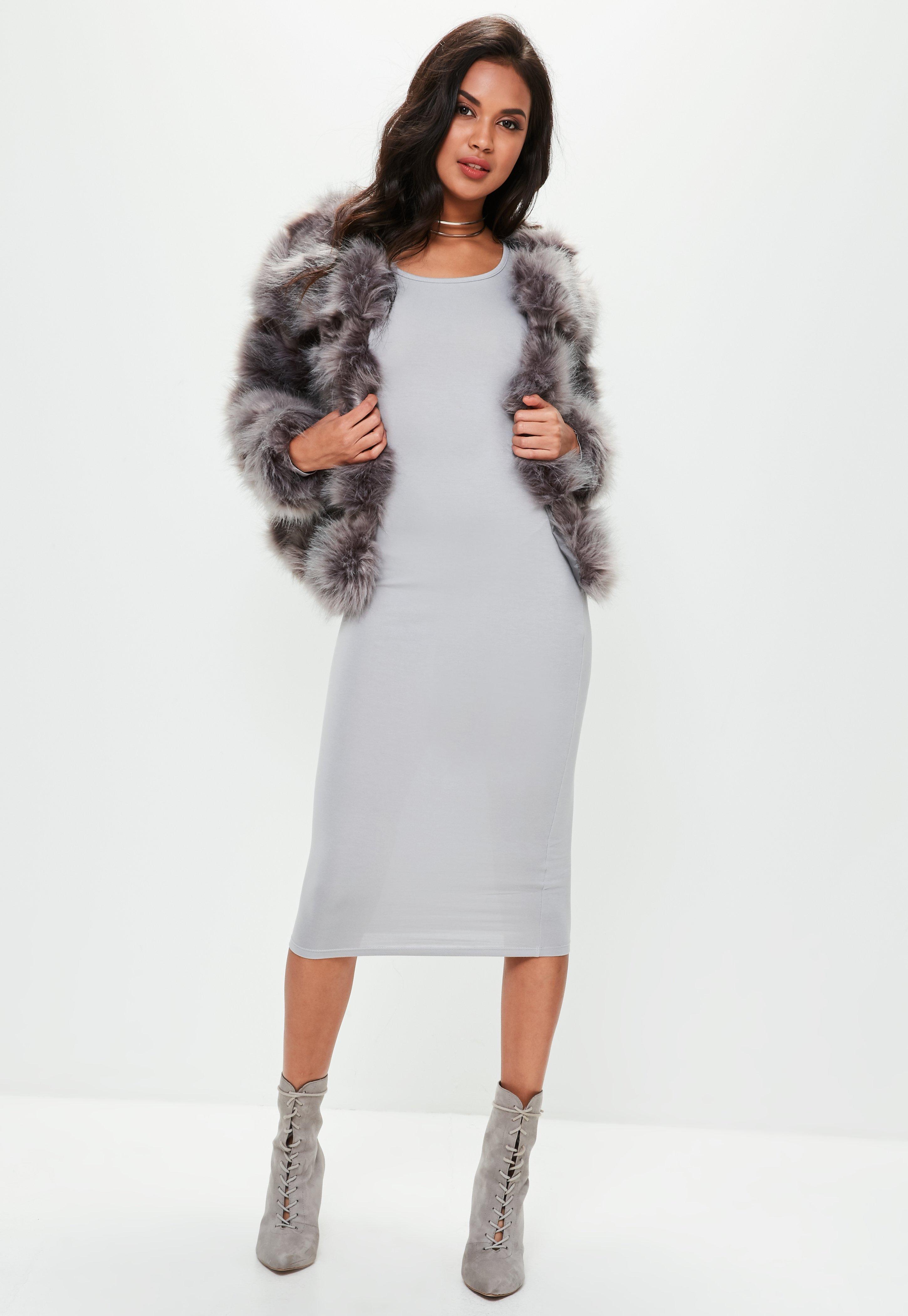 Missguided Grey Long Sleeve Plain Midi Bodycon Dress in Grey