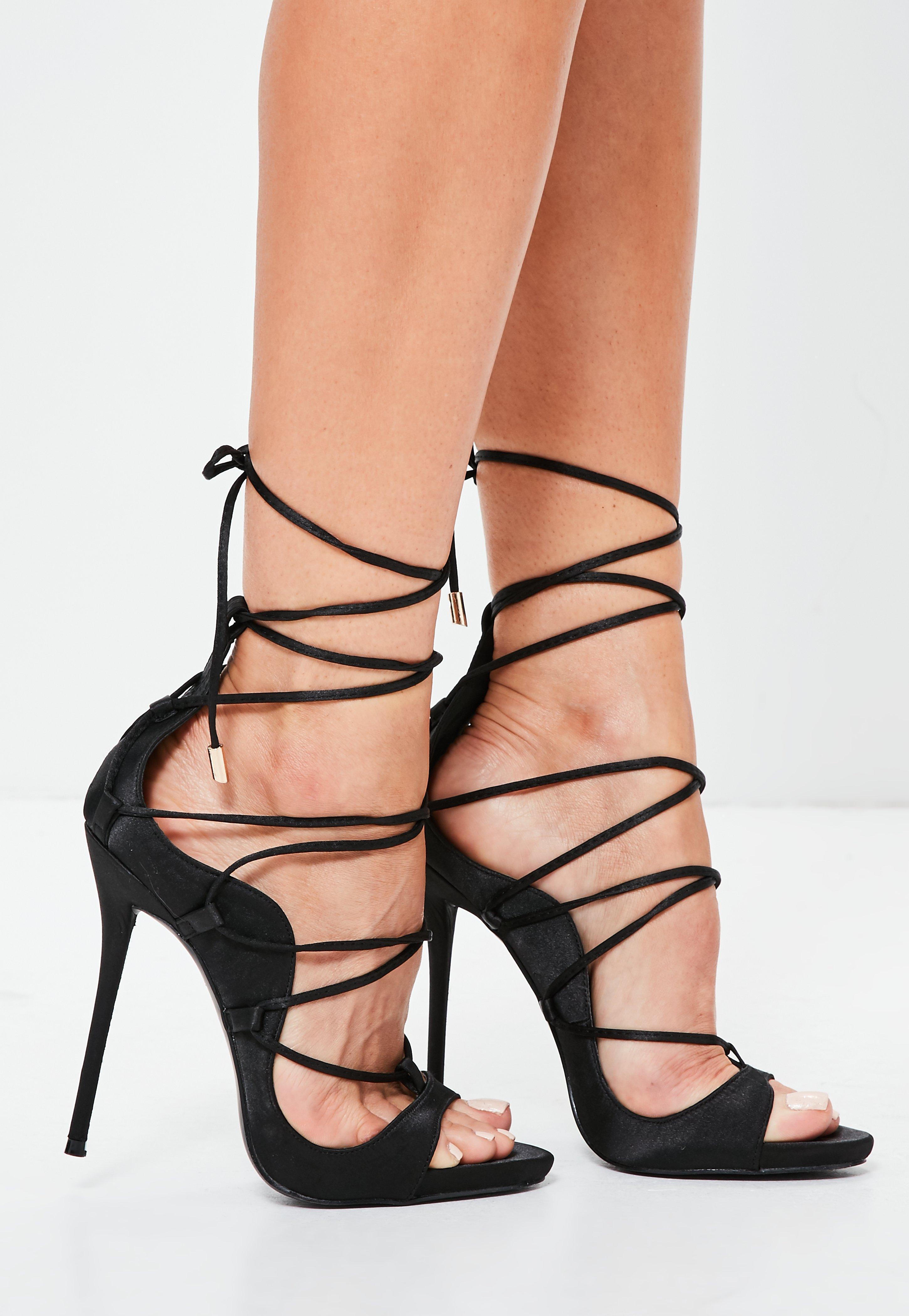906029a48f64 Missguided Black Satin Gladiator Sandals in Black - Lyst