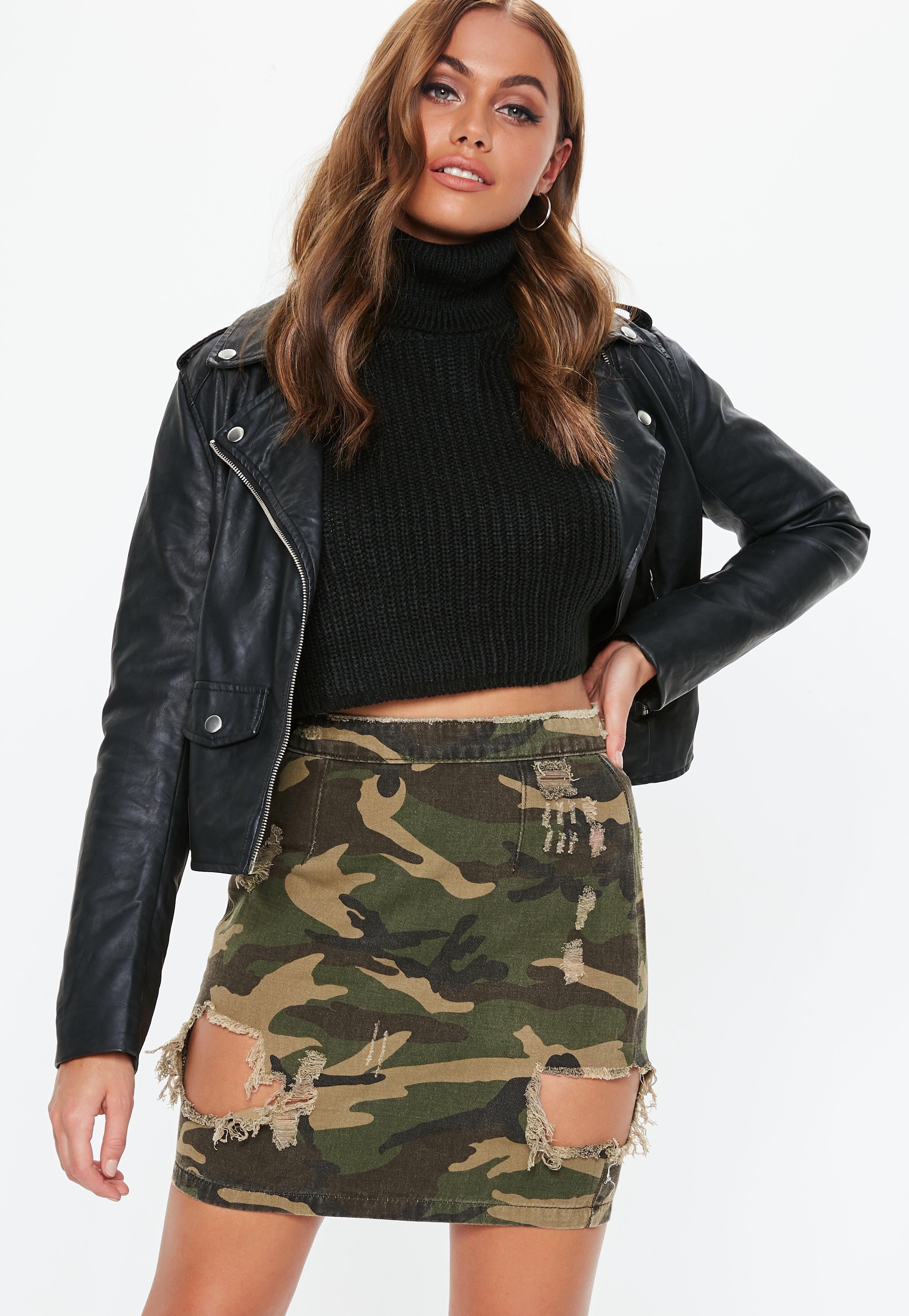 4301d4033b87c6 Missguided Khaki Camo Ripped Denim Mini Skirt - Save 52% - Lyst